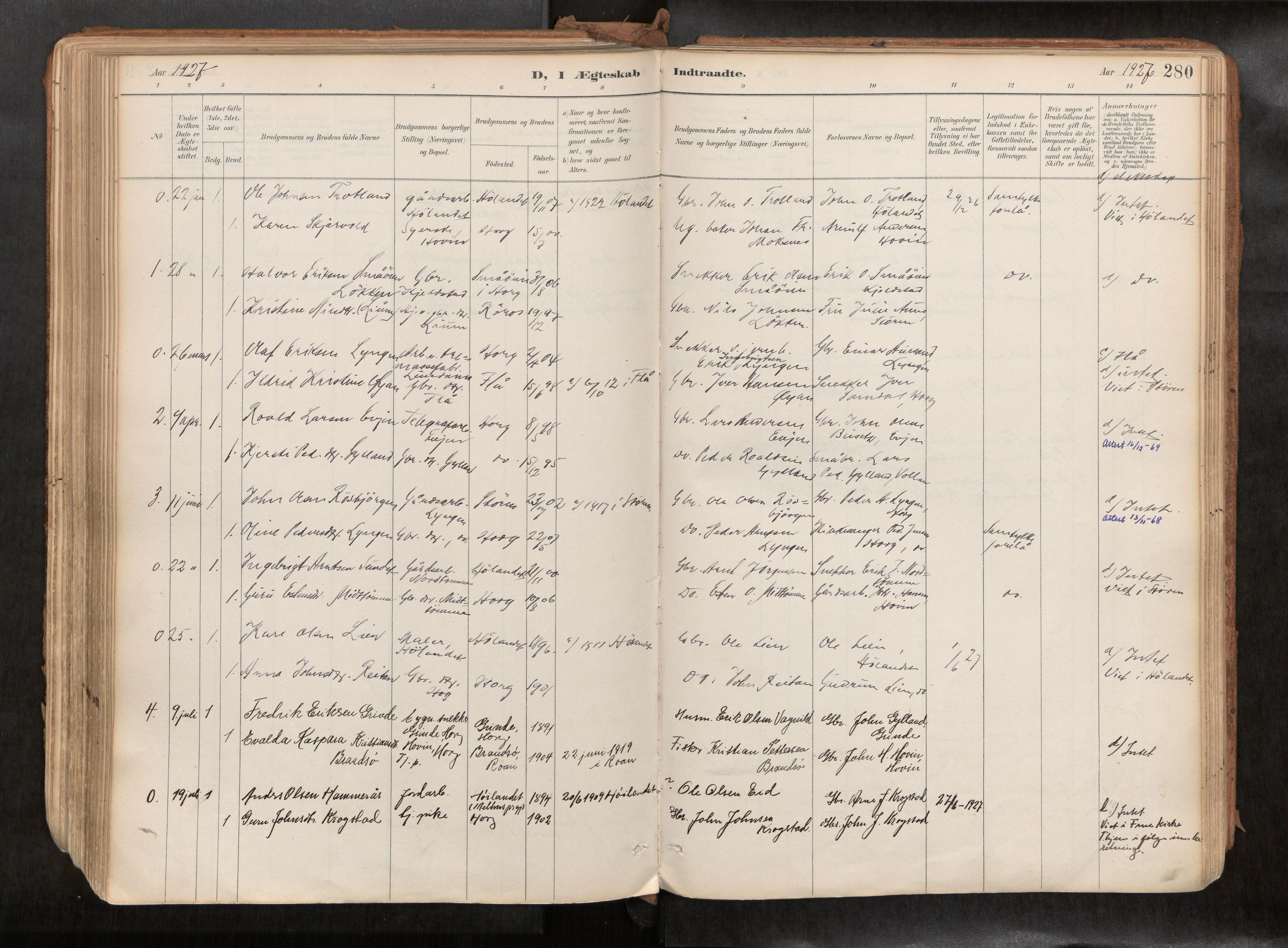 SAT, Ministerialprotokoller, klokkerbøker og fødselsregistre - Sør-Trøndelag, 692/L1105b: Ministerialbok nr. 692A06, 1891-1934, s. 280