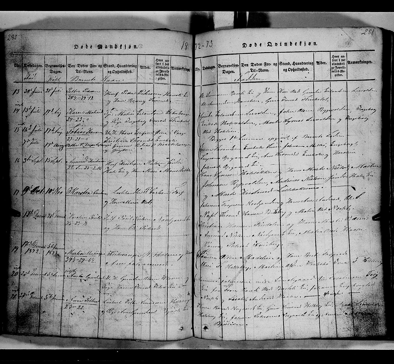 SAH, Gausdal prestekontor, Klokkerbok nr. 2, 1818-1874, s. 280-281