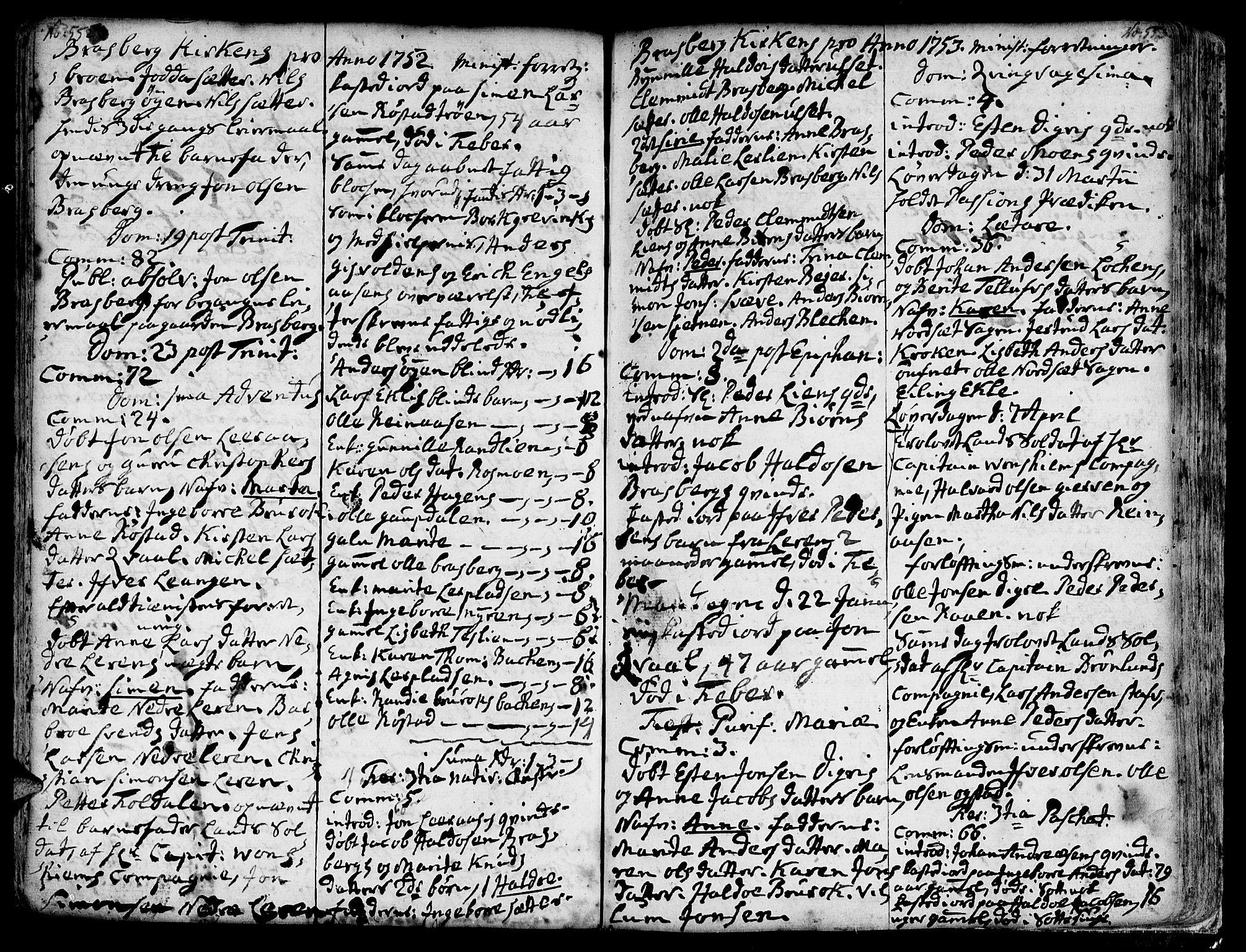 SAT, Ministerialprotokoller, klokkerbøker og fødselsregistre - Sør-Trøndelag, 606/L0278: Ministerialbok nr. 606A01 /4, 1727-1780, s. 552-553