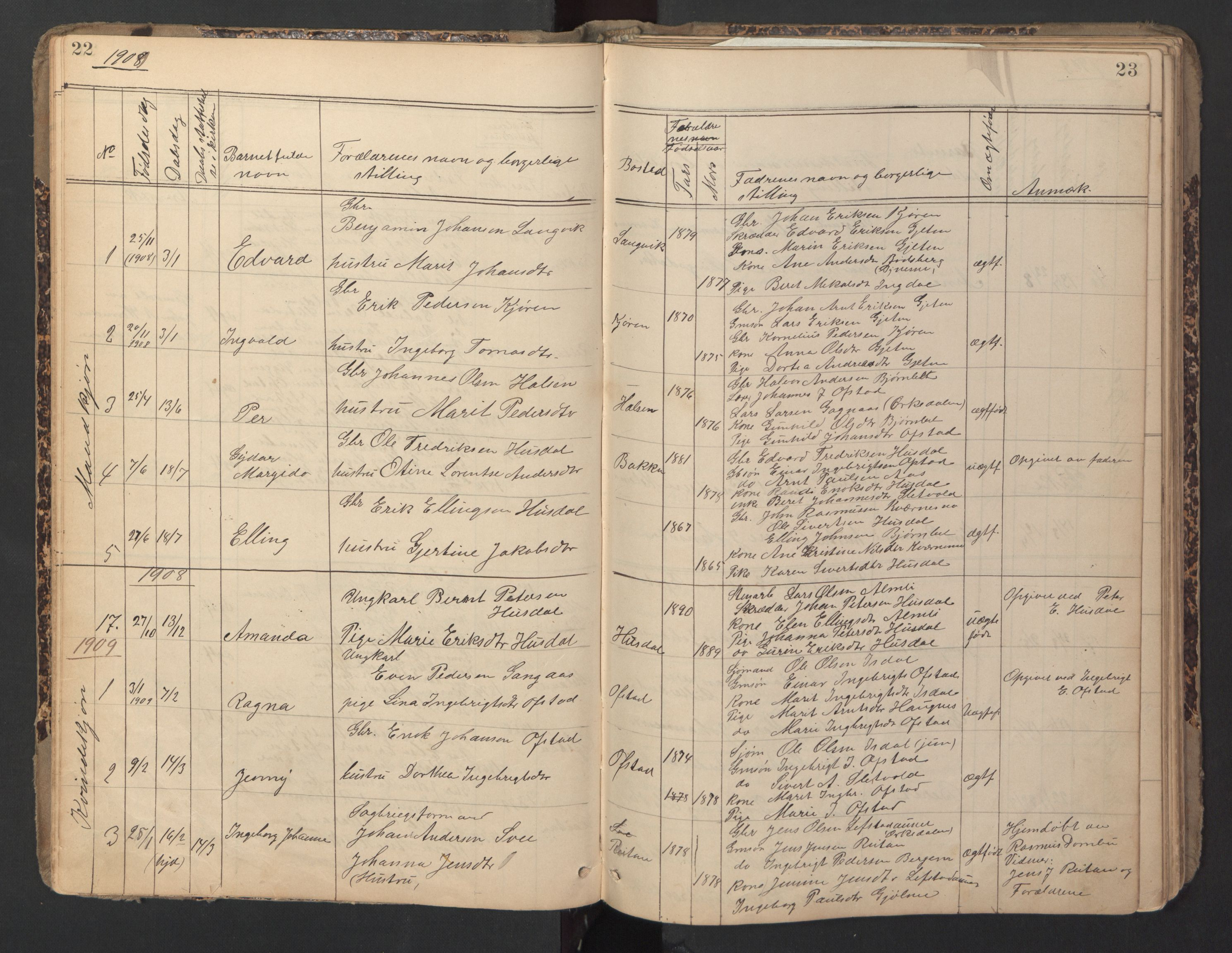 SAT, Ministerialprotokoller, klokkerbøker og fødselsregistre - Sør-Trøndelag, 670/L0837: Klokkerbok nr. 670C01, 1905-1946, s. 22-23