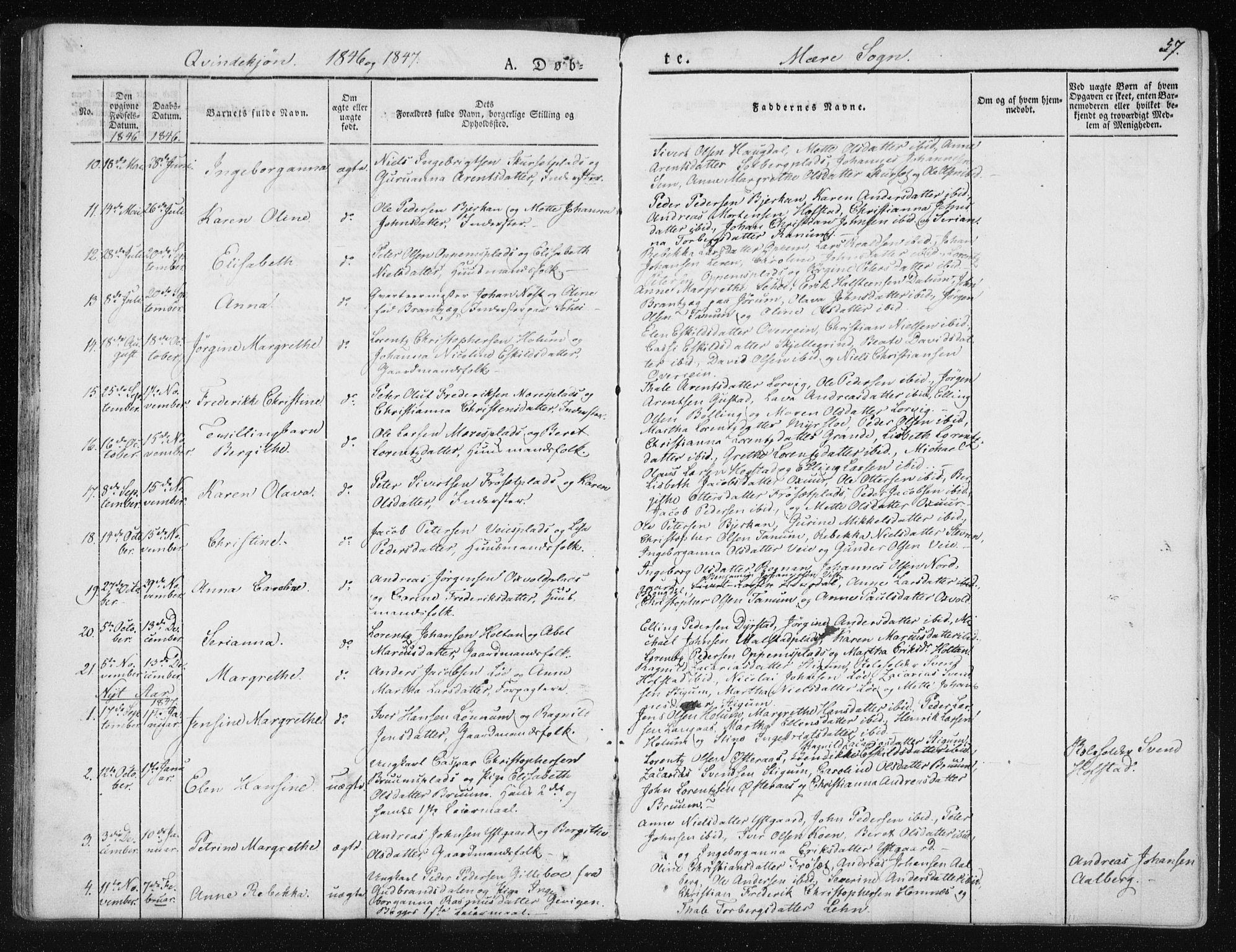 SAT, Ministerialprotokoller, klokkerbøker og fødselsregistre - Nord-Trøndelag, 735/L0339: Ministerialbok nr. 735A06 /1, 1836-1848, s. 57