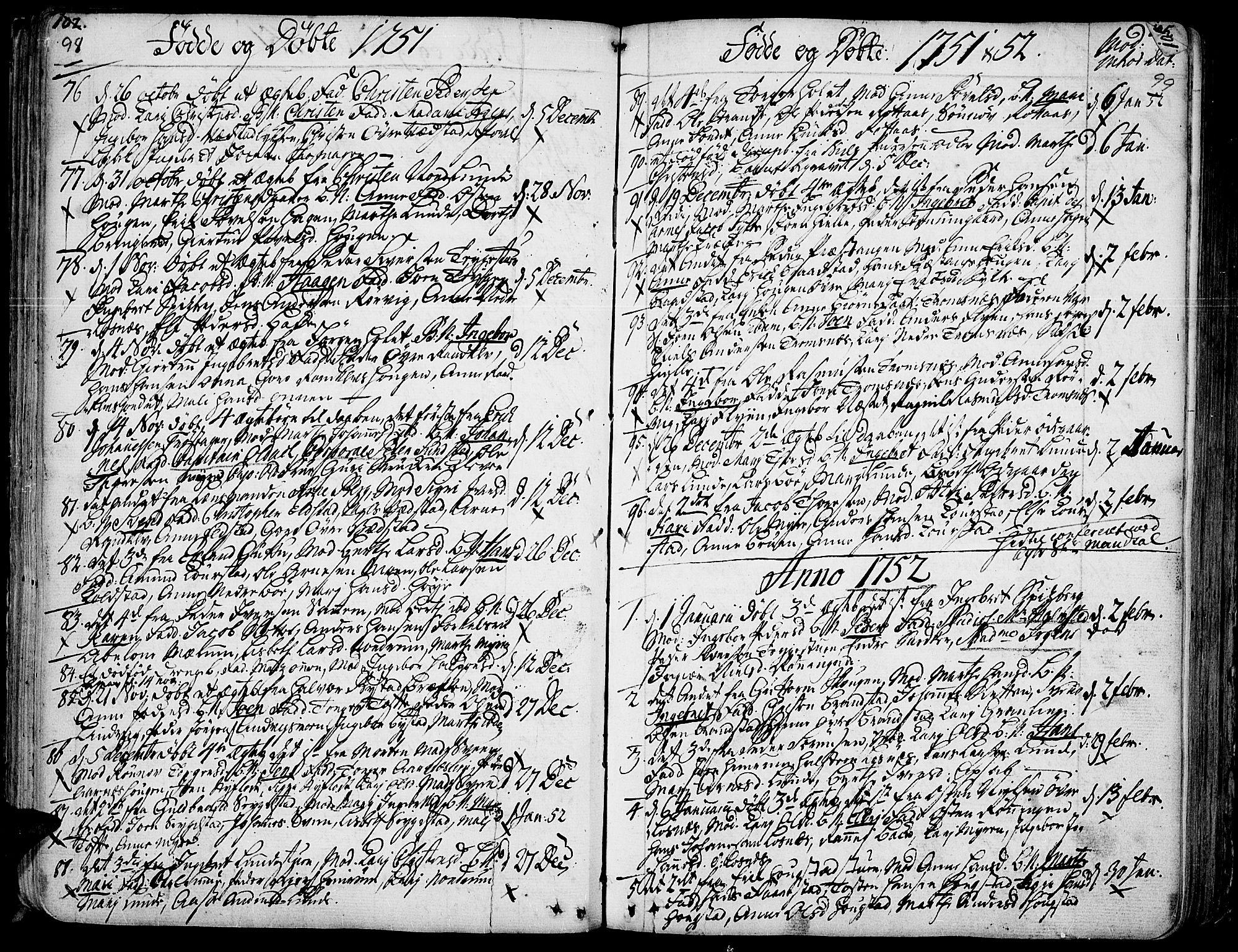SAH, Ringebu prestekontor, Ministerialbok nr. 2, 1734-1780, s. 98-99