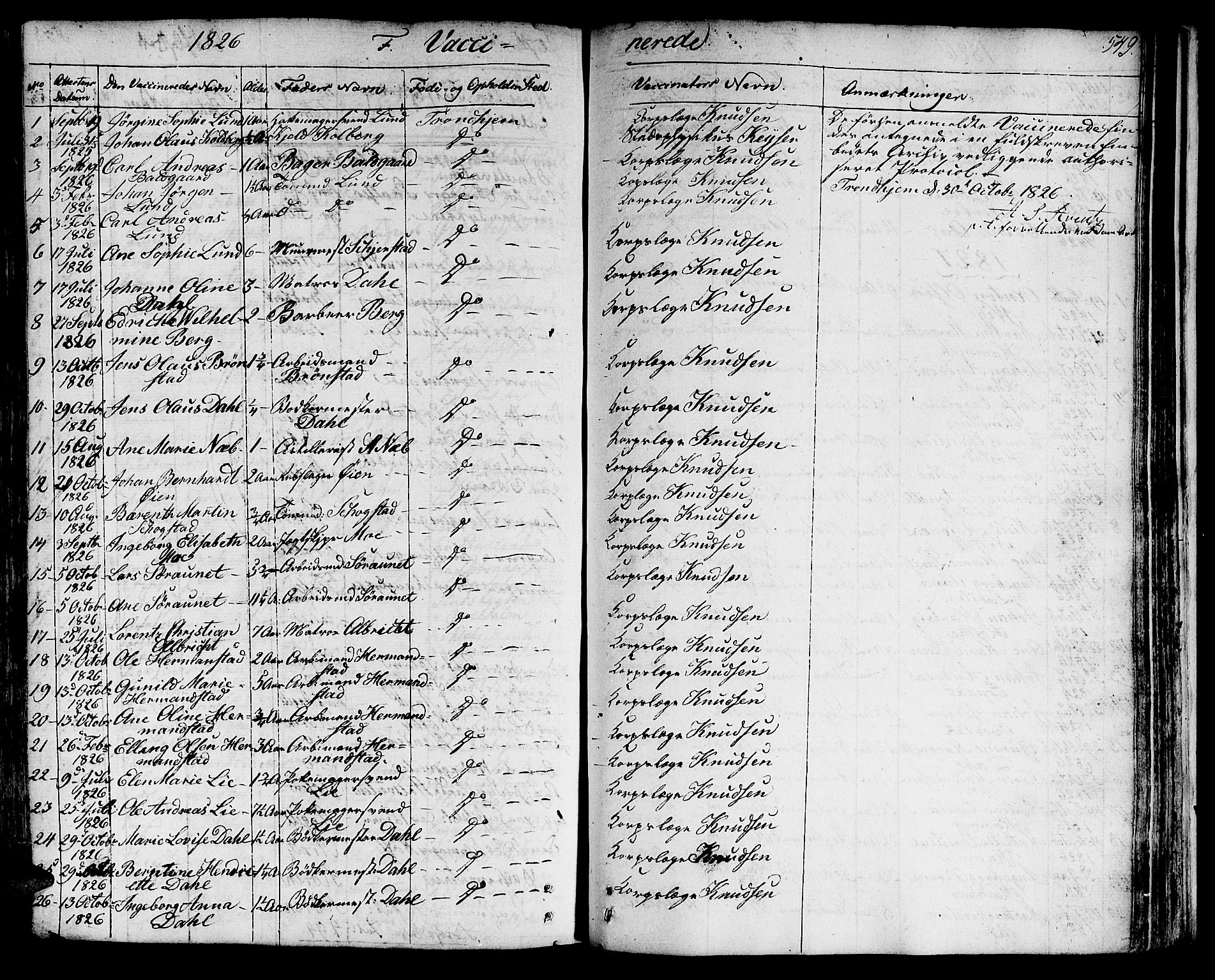 SAT, Ministerialprotokoller, klokkerbøker og fødselsregistre - Sør-Trøndelag, 601/L0045: Ministerialbok nr. 601A13, 1821-1831, s. 549
