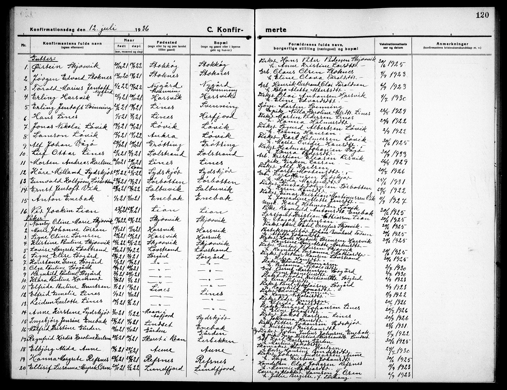 SAT, Ministerialprotokoller, klokkerbøker og fødselsregistre - Sør-Trøndelag, 656/L0696: Klokkerbok nr. 656C02, 1921-1937, s. 120