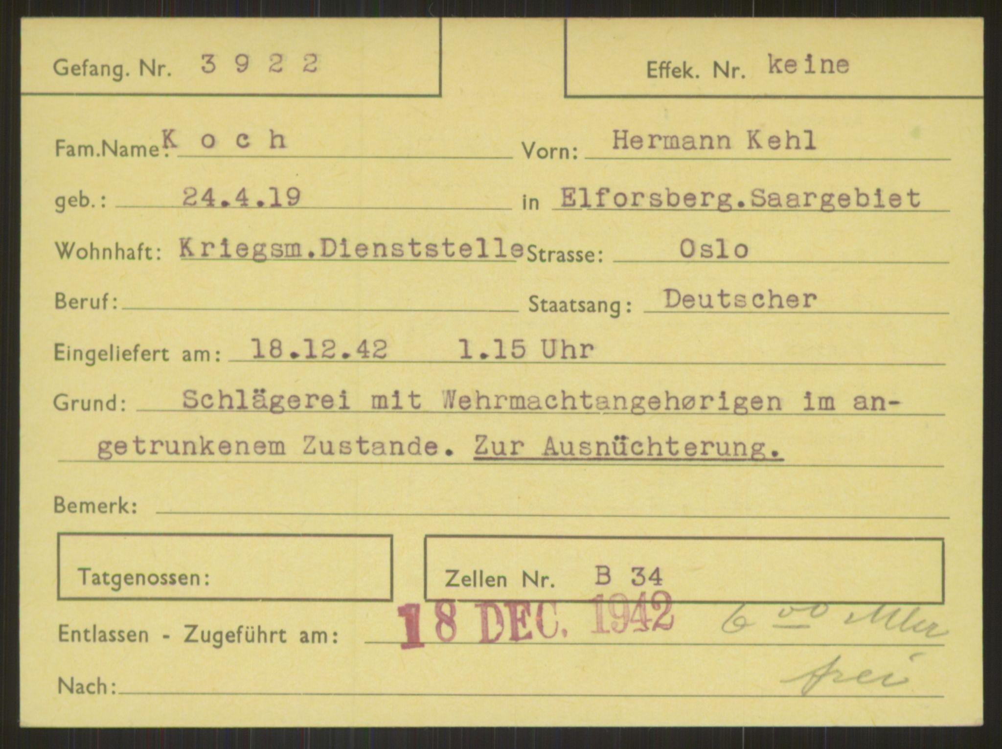 RA, Befehlshaber der Sicherheitspolizei und des SD, E/Ea/Eab/L0004: Register over norske fanger i Møllergata 19 ordnet etter fangenummer: 3920-4699, 1940-1945