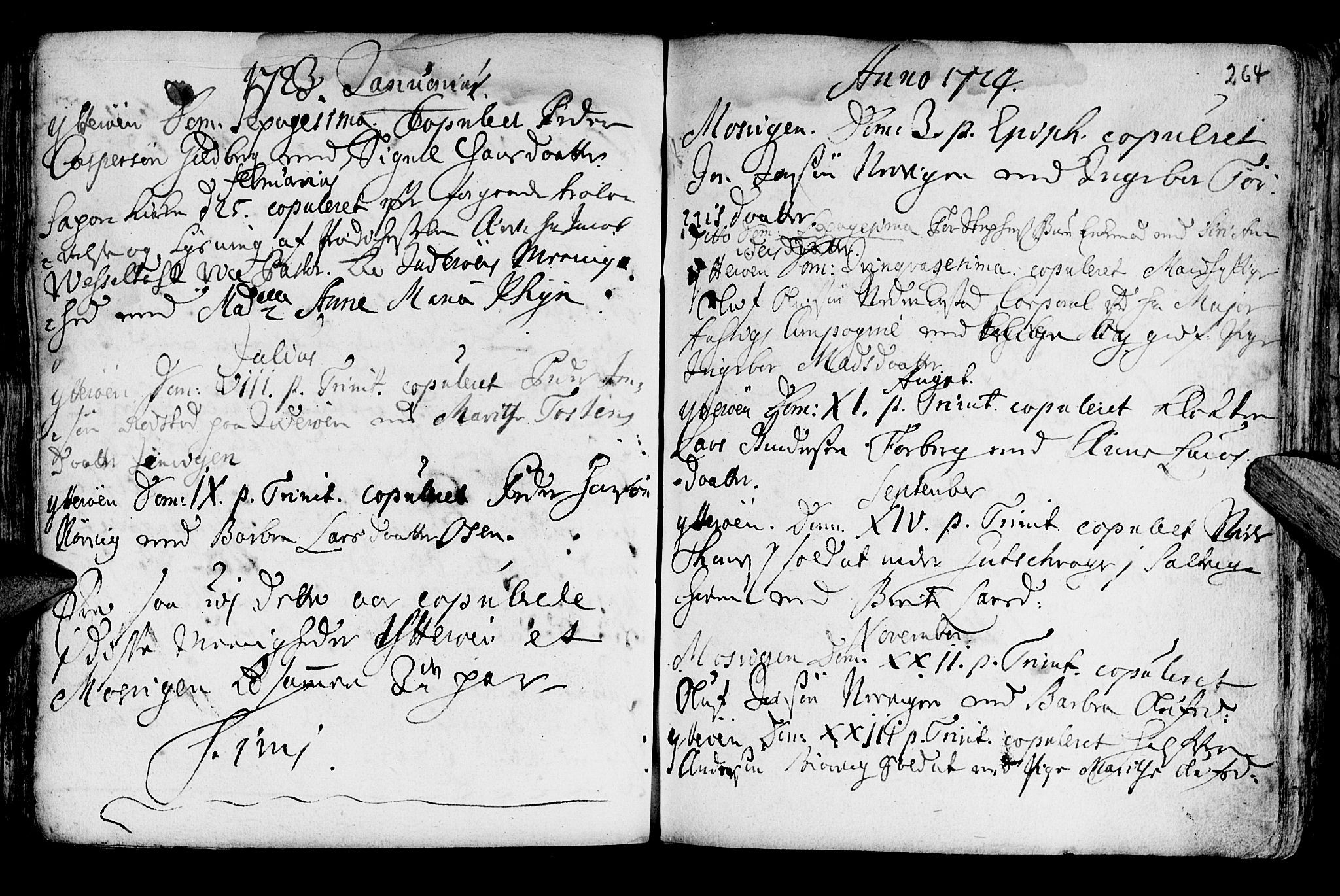 SAT, Ministerialprotokoller, klokkerbøker og fødselsregistre - Nord-Trøndelag, 722/L0215: Ministerialbok nr. 722A02, 1718-1755, s. 264