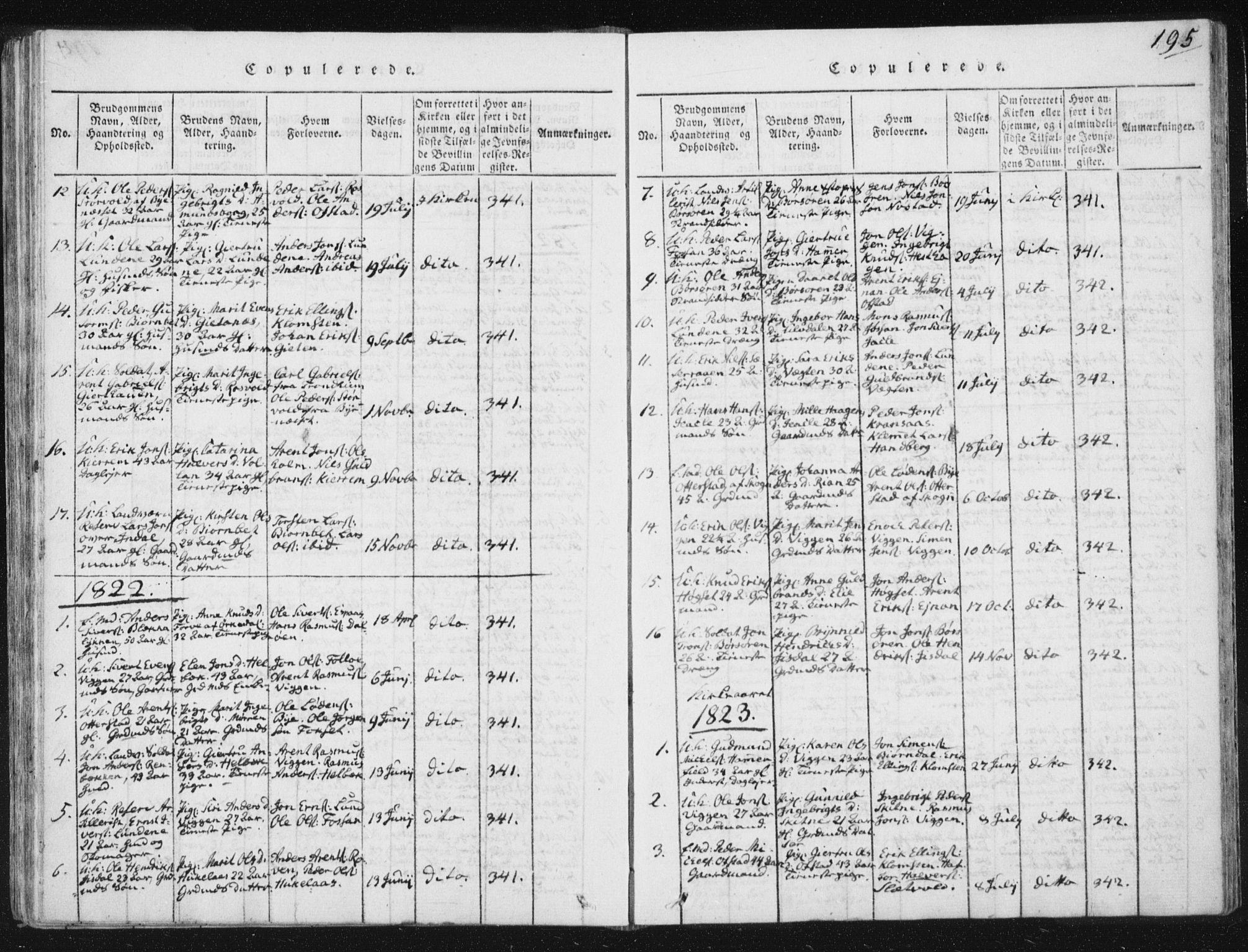 SAT, Ministerialprotokoller, klokkerbøker og fødselsregistre - Sør-Trøndelag, 665/L0770: Ministerialbok nr. 665A05, 1817-1829, s. 195