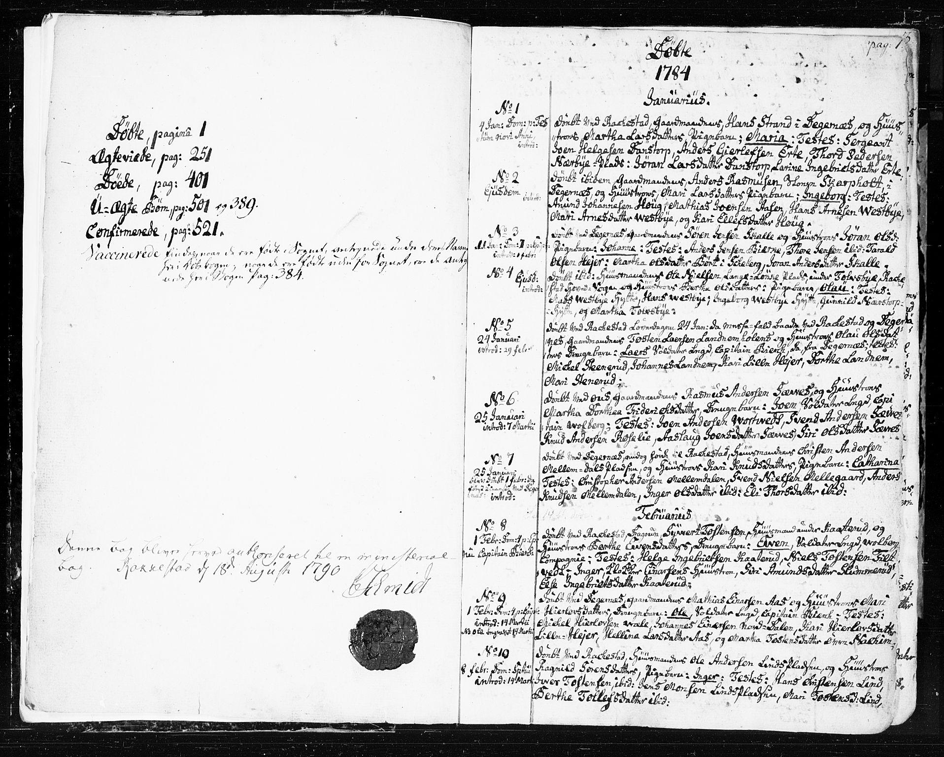 SAO, Rakkestad prestekontor Kirkebøker, F/Fa/L0005: Ministerialbok nr. I 5, 1784-1814, s. 0-1