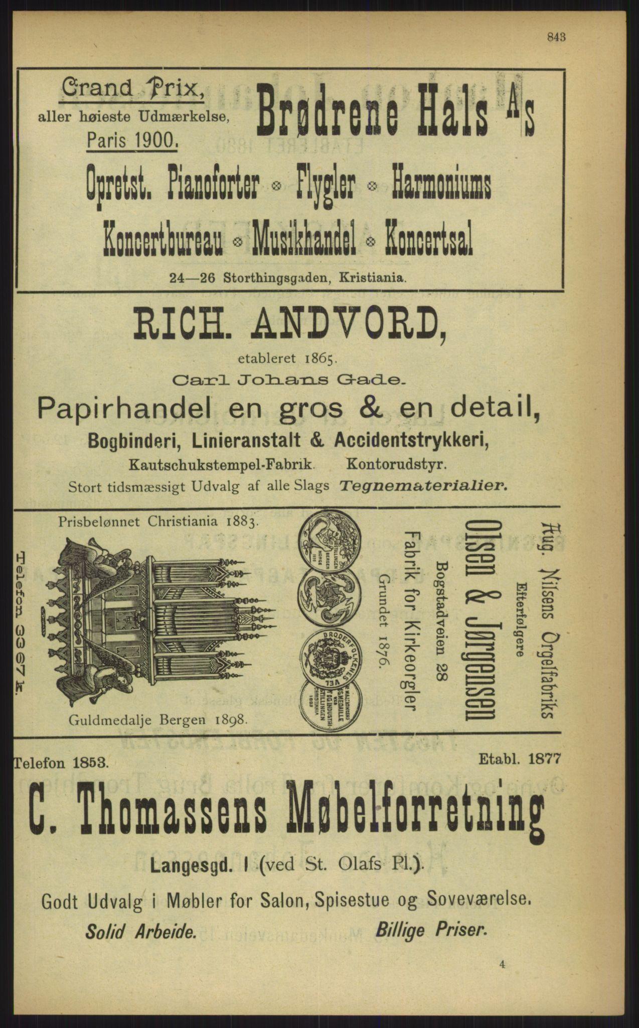 RA, Kristiania adressebok (publikasjon)*, 1903, s. 843