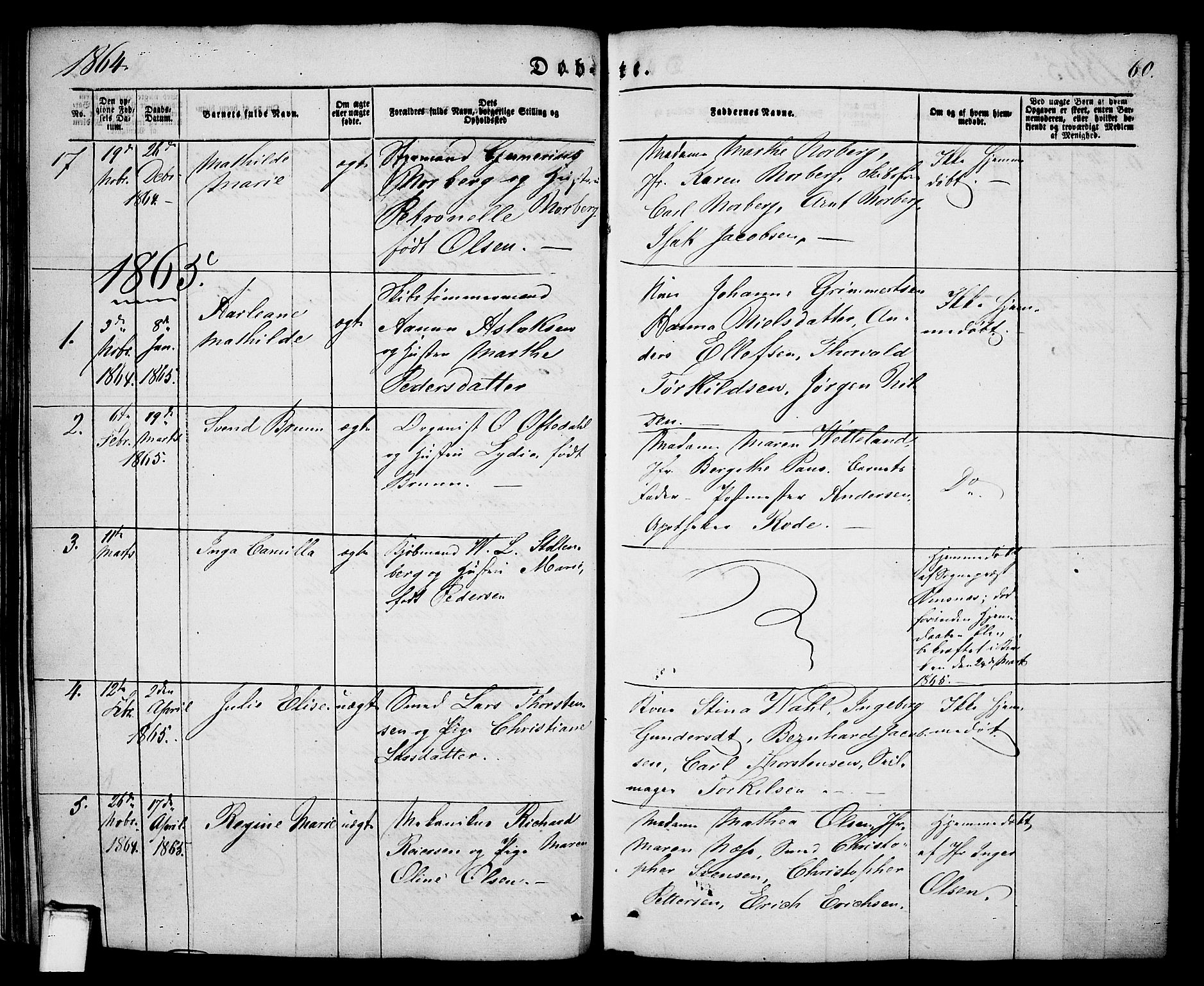 SAKO, Porsgrunn kirkebøker , G/Ga/L0002: Klokkerbok nr. I 2, 1847-1877, s. 60