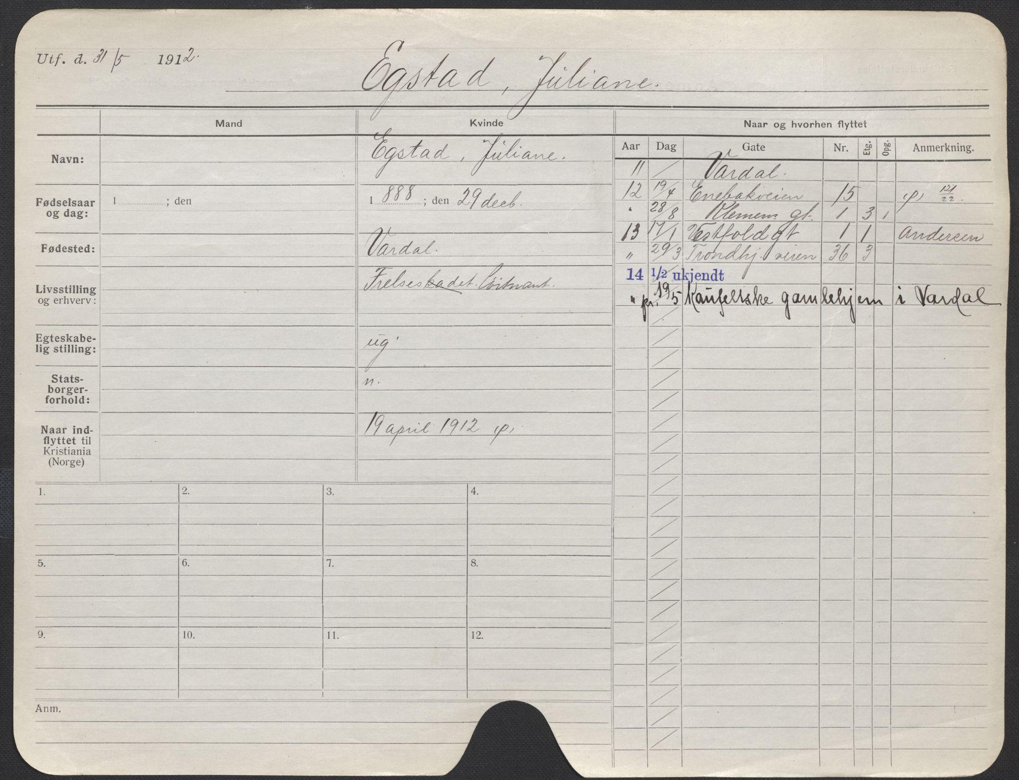 SAO, Oslo folkeregister, Registerkort, F/Fa/Fac/L0014: Kvinner, 1906-1914, s. 35a