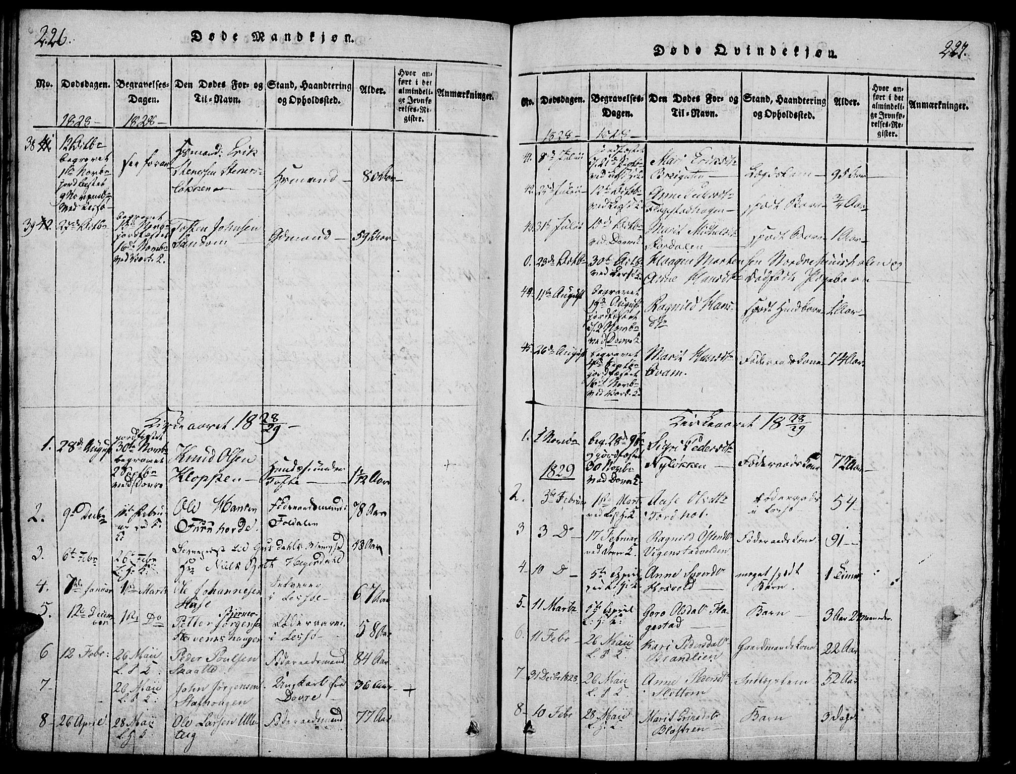SAH, Lesja prestekontor, Ministerialbok nr. 4, 1820-1829, s. 226-227