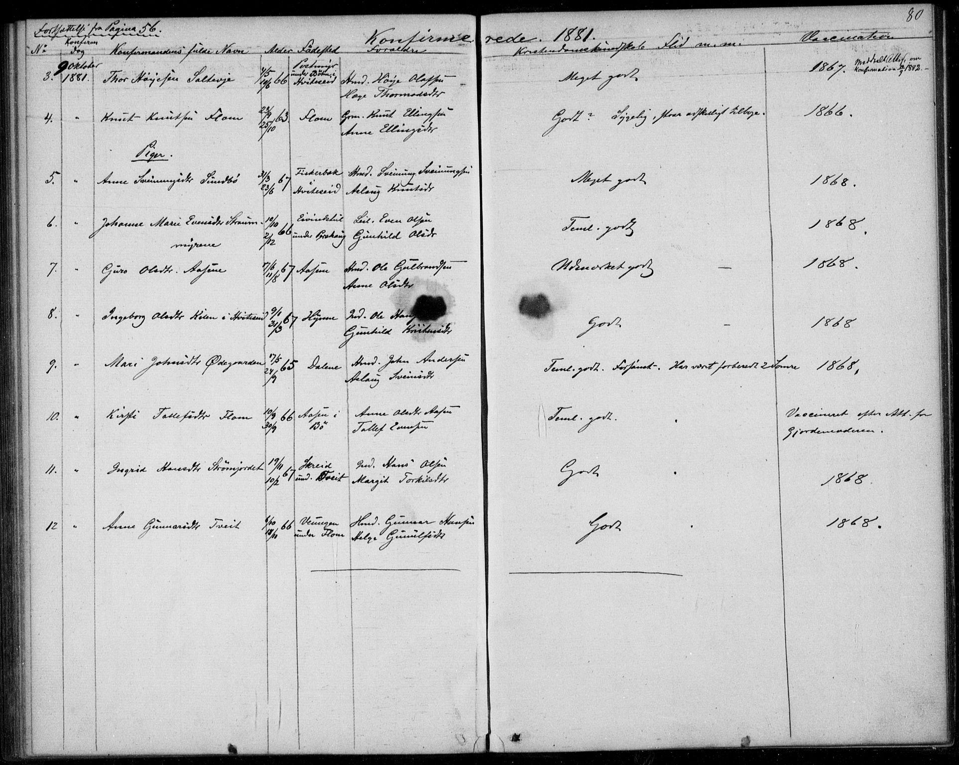 SAKO, Lunde kirkebøker, F/Fb/L0002: Ministerialbok nr. II 2, 1861-1881, s. 80