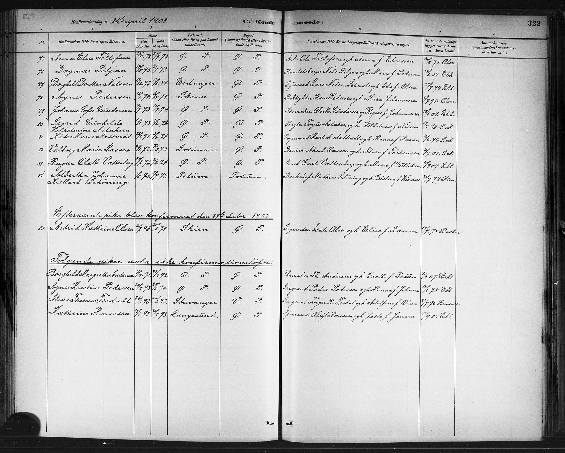 SAKO, Porsgrunn kirkebøker , G/Gb/L0005: Klokkerbok nr. II 5, 1883-1915, s. 322