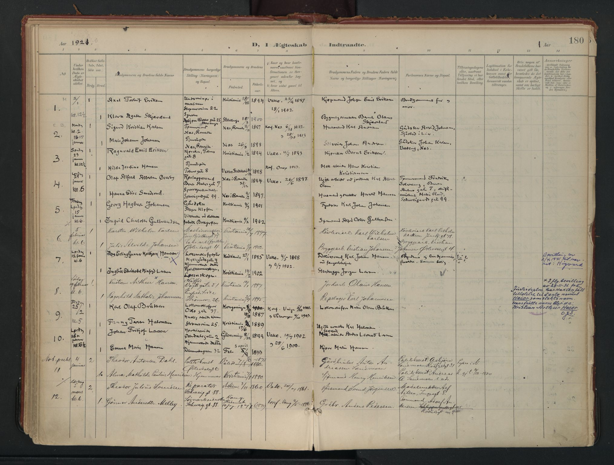 SAO, Vålerengen prestekontor Kirkebøker, F/Fa/L0002: Ministerialbok nr. 2, 1899-1924, s. 180