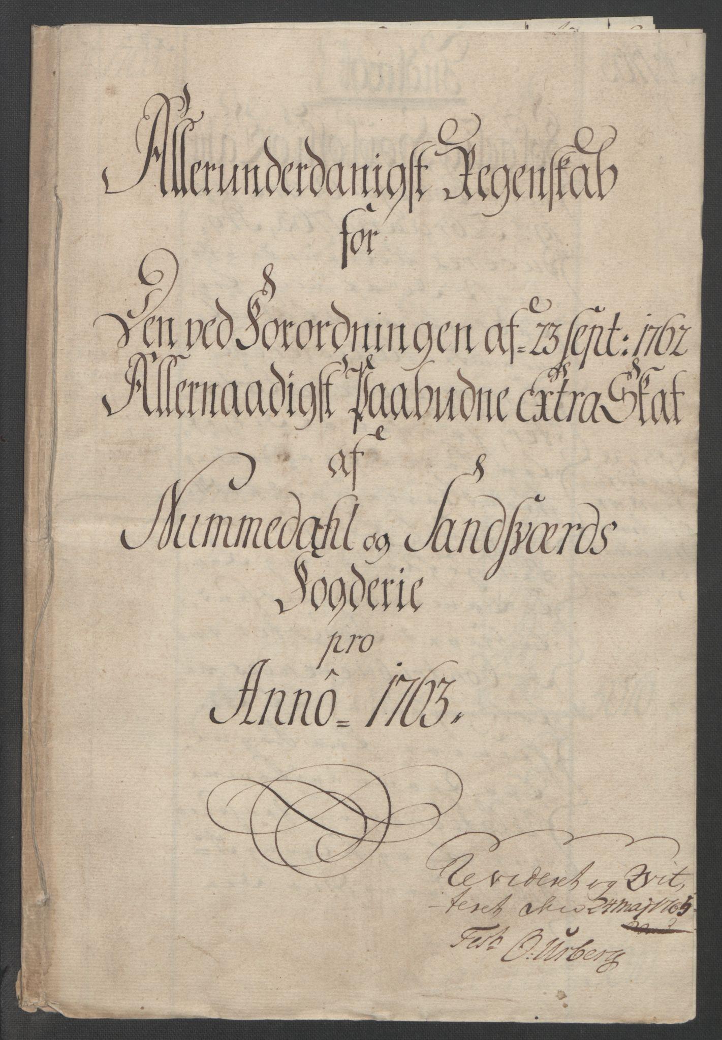 RA, Rentekammeret inntil 1814, Reviderte regnskaper, Fogderegnskap, R24/L1672: Ekstraskatten Numedal og Sandsvær, 1762-1767, s. 125