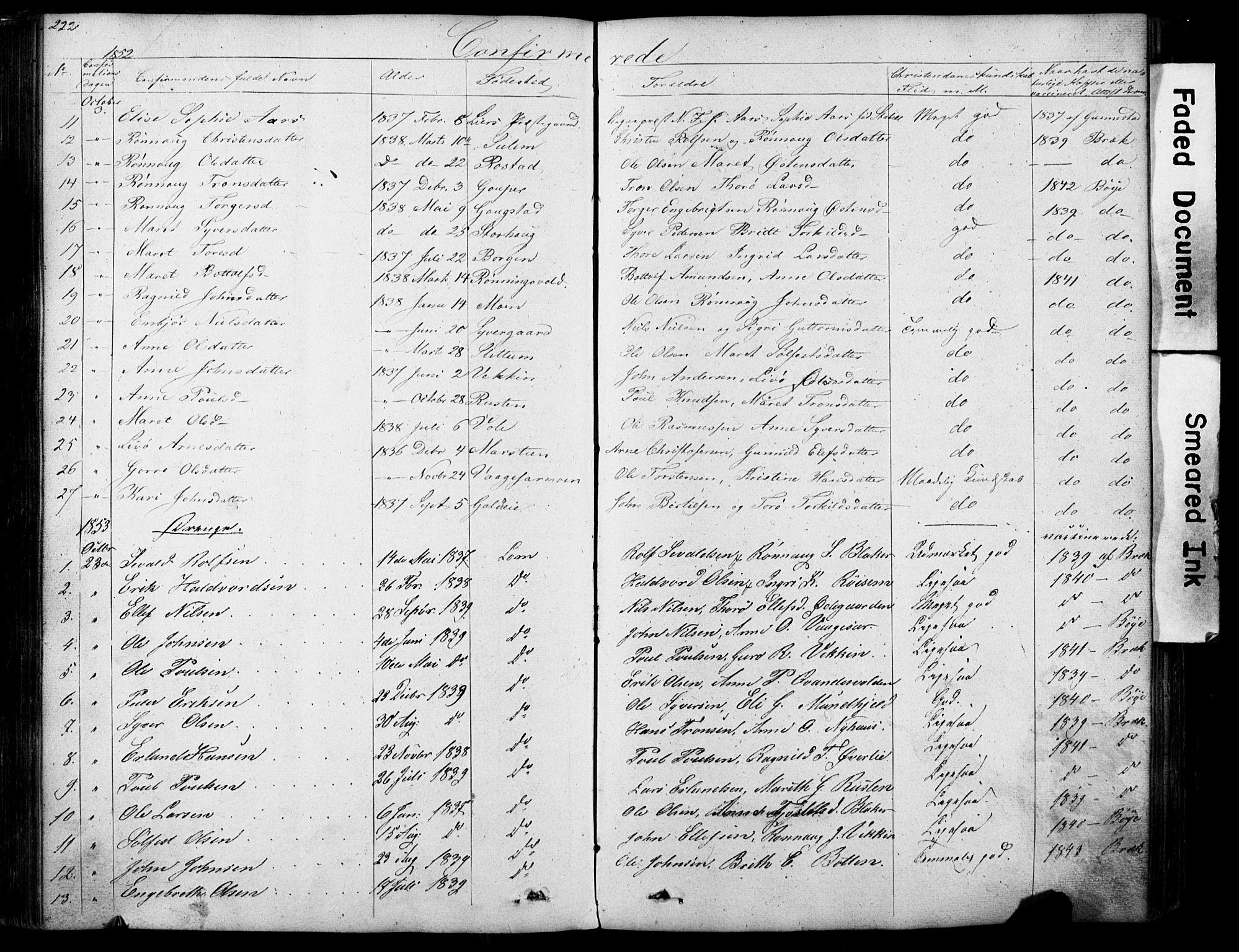 SAH, Lom prestekontor, L/L0012: Klokkerbok nr. 12, 1845-1873, s. 222-223