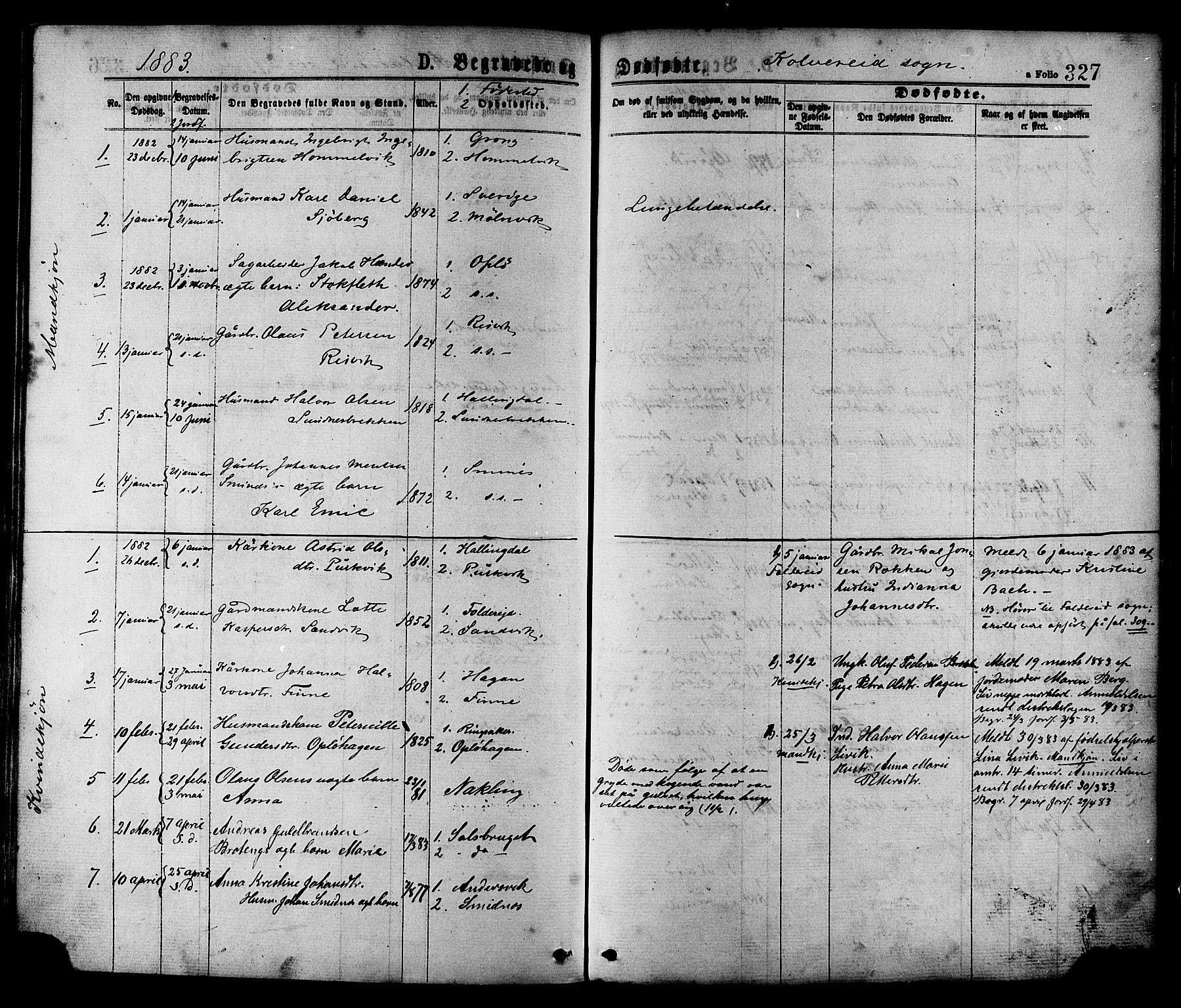SAT, Ministerialprotokoller, klokkerbøker og fødselsregistre - Nord-Trøndelag, 780/L0642: Ministerialbok nr. 780A07 /1, 1874-1885, s. 327