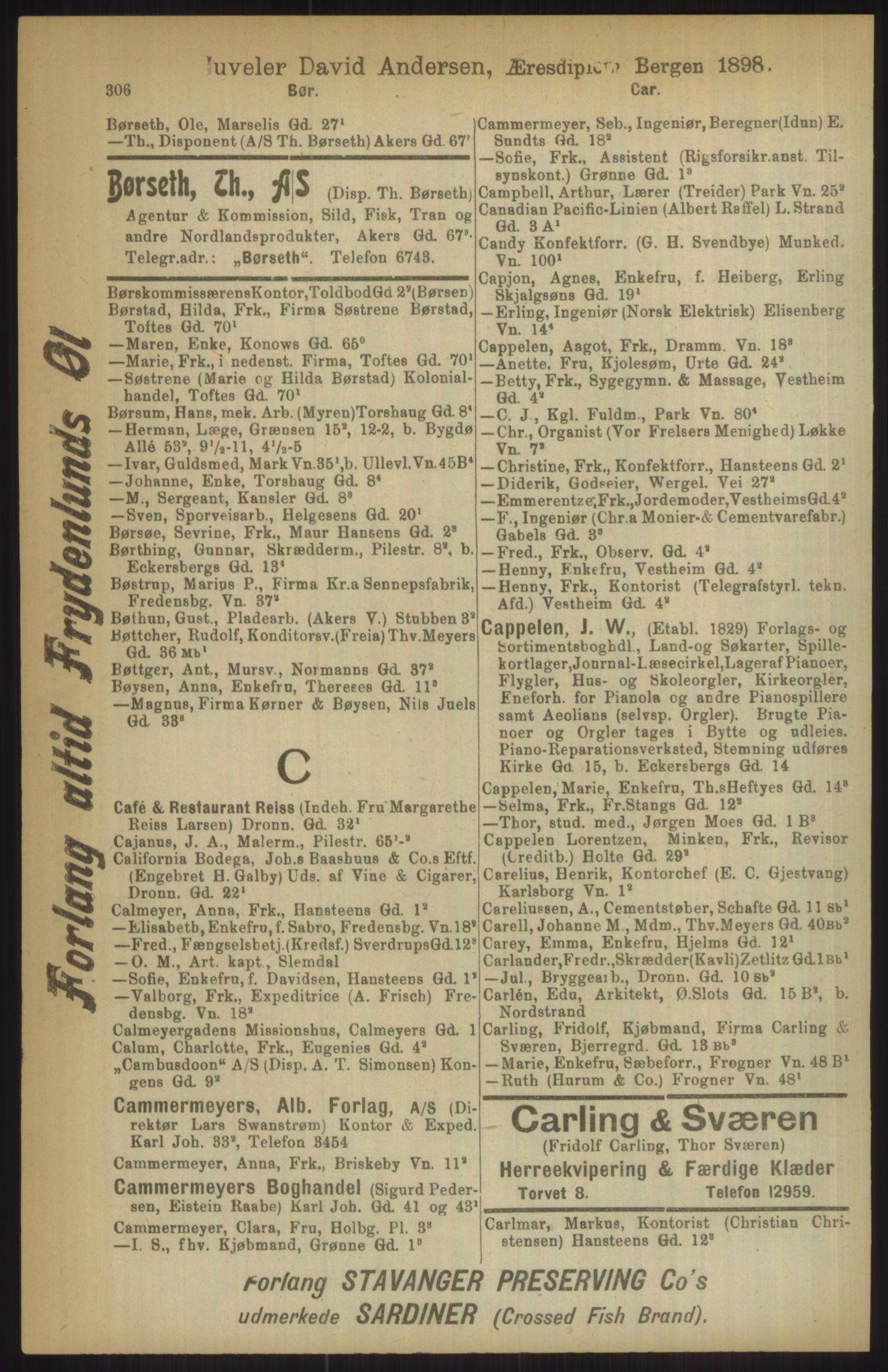 RA, Kristiania adressebok (publikasjon)*, 1911, s. 306
