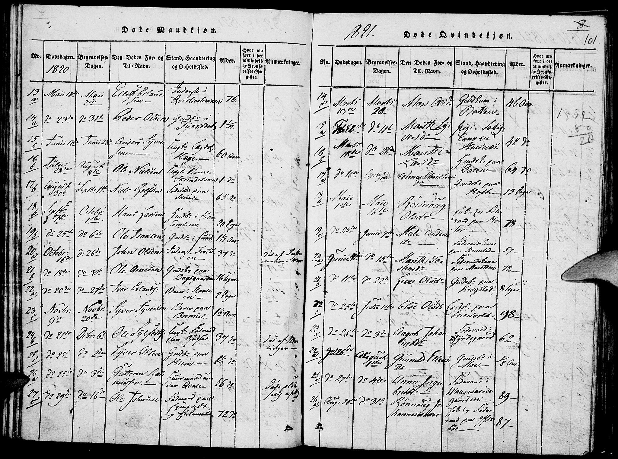 SAH, Lom prestekontor, K/L0004: Ministerialbok nr. 4, 1815-1825, s. 101