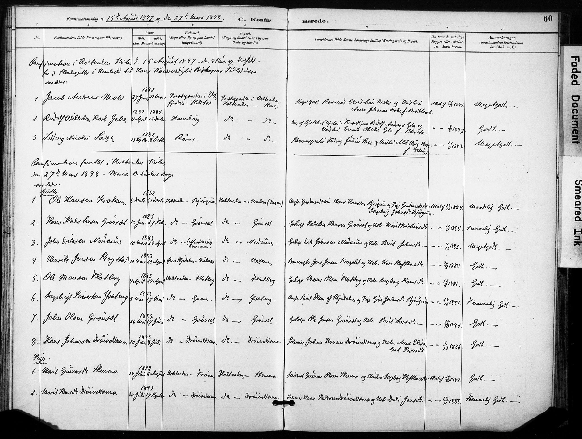 SAT, Ministerialprotokoller, klokkerbøker og fødselsregistre - Sør-Trøndelag, 685/L0973: Ministerialbok nr. 685A10, 1891-1907, s. 60