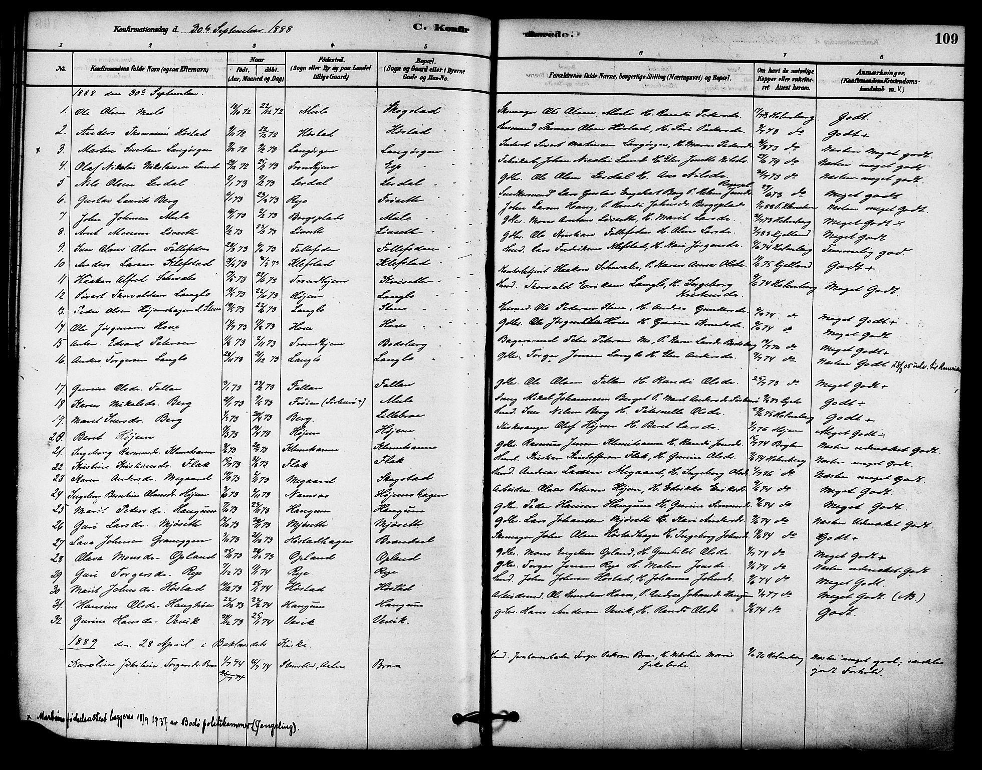 SAT, Ministerialprotokoller, klokkerbøker og fødselsregistre - Sør-Trøndelag, 612/L0378: Ministerialbok nr. 612A10, 1878-1897, s. 109