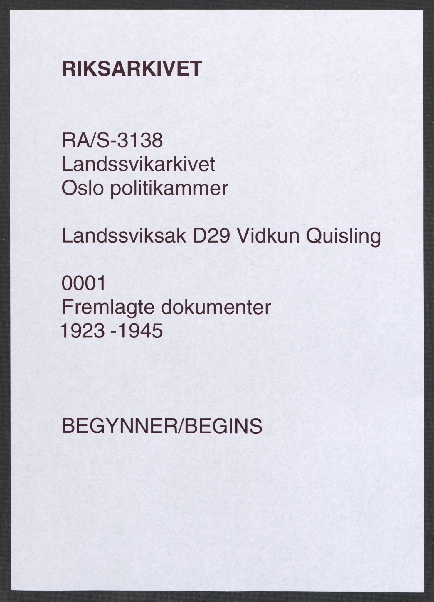 RA, Landssvikarkivet, Oslo politikammer, D/Da/L0003: Dnr. 29, 1945, s. 1