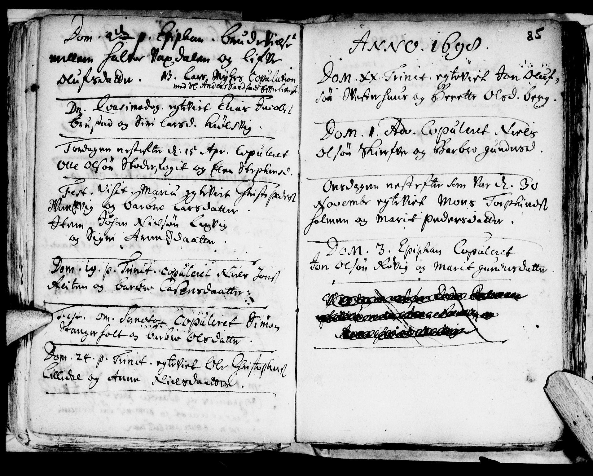 SAT, Ministerialprotokoller, klokkerbøker og fødselsregistre - Nord-Trøndelag, 722/L0214: Ministerialbok nr. 722A01, 1692-1718, s. 85a