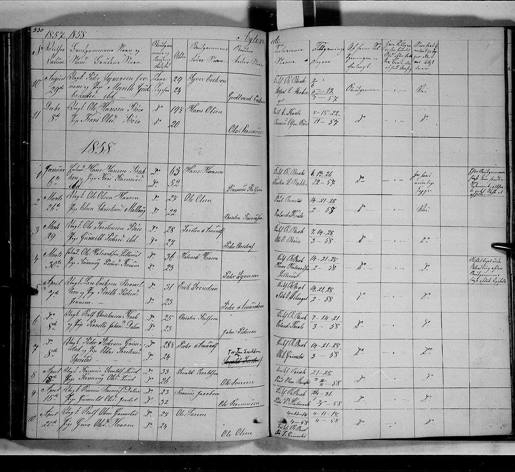 SAH, Lom prestekontor, L/L0004: Klokkerbok nr. 4, 1845-1864, s. 330-331