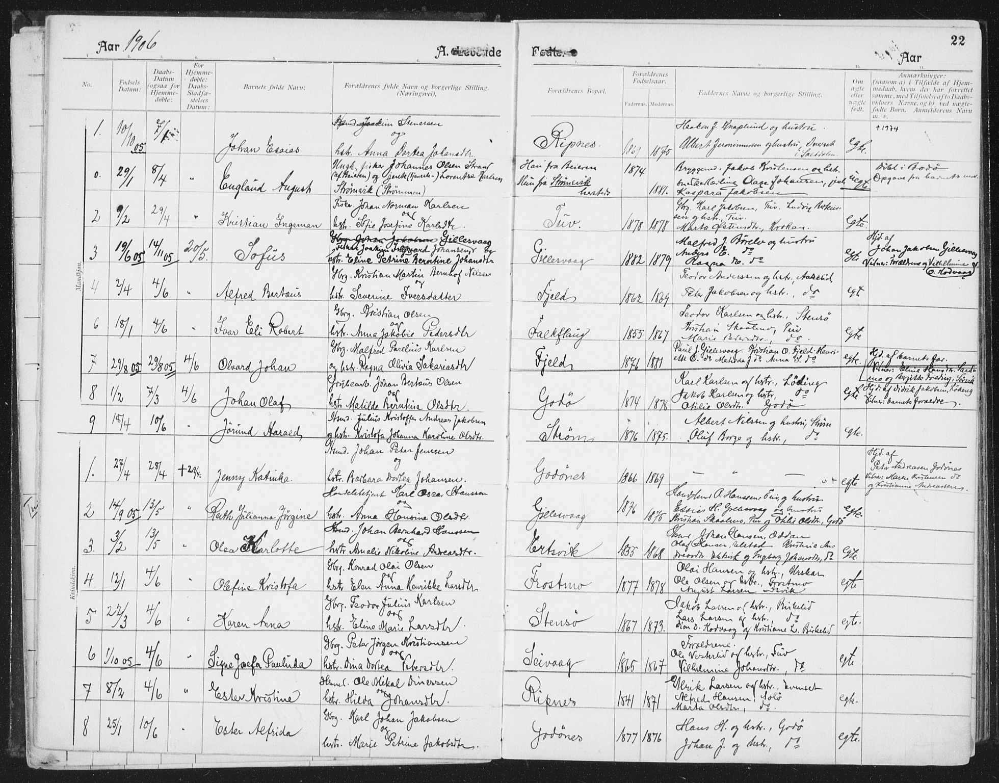 SAT, Ministerialprotokoller, klokkerbøker og fødselsregistre - Nordland, 804/L0081: Ministerialbok nr. 804A02, 1901-1915, s. 22