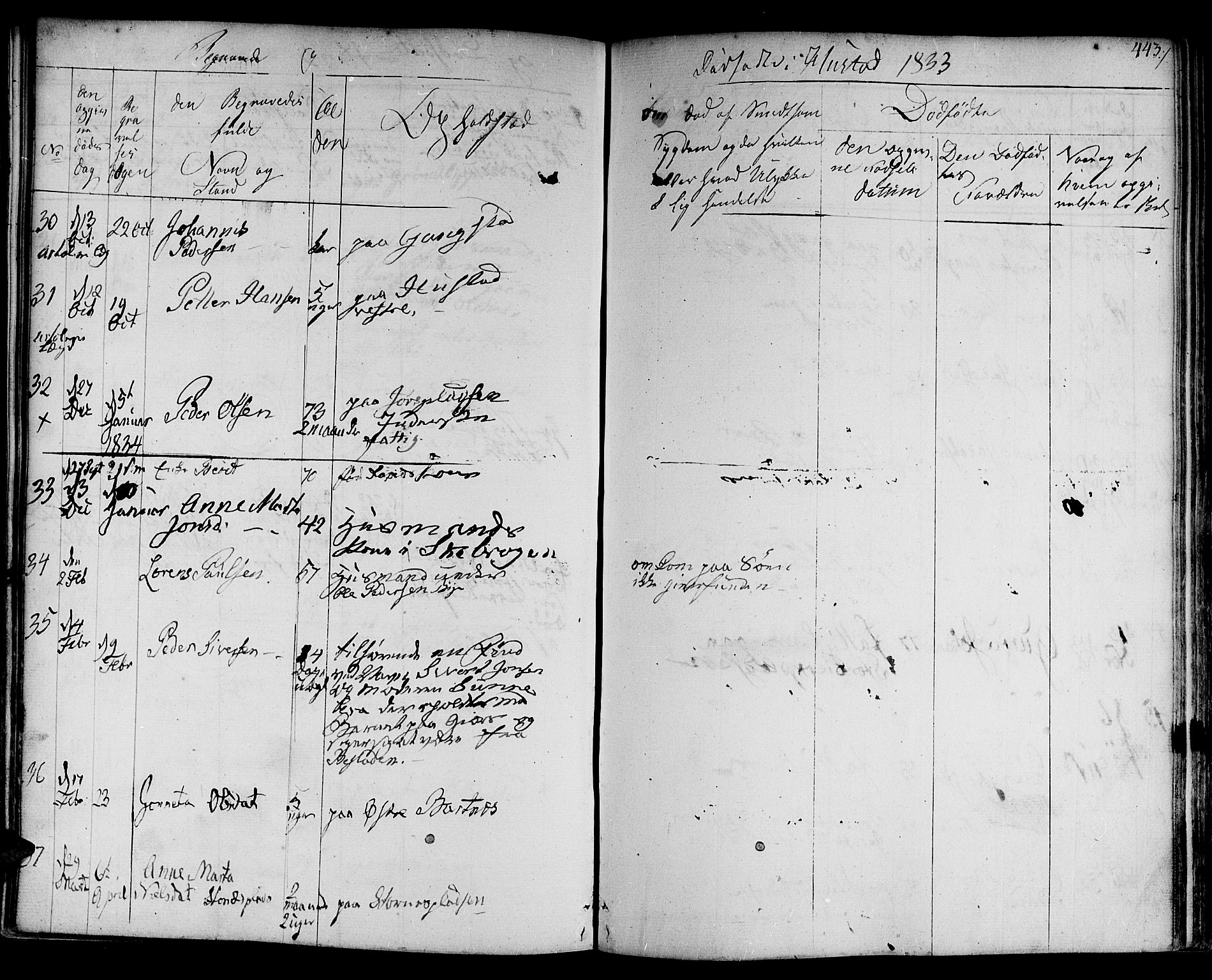 SAT, Ministerialprotokoller, klokkerbøker og fødselsregistre - Nord-Trøndelag, 730/L0277: Ministerialbok nr. 730A06 /3, 1830-1839, s. 443