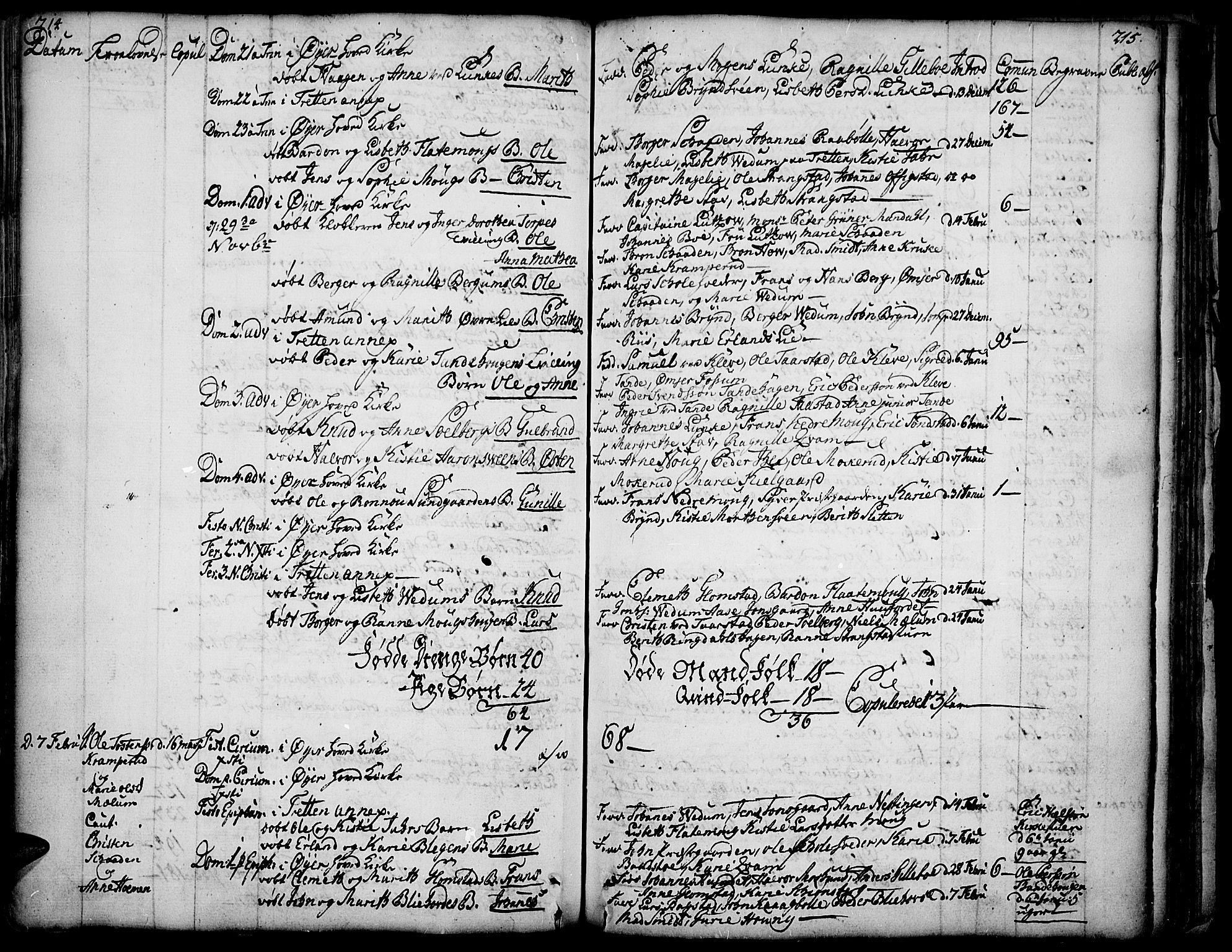 SAH, Øyer prestekontor, Ministerialbok nr. 2, 1733-1784, s. 214-215