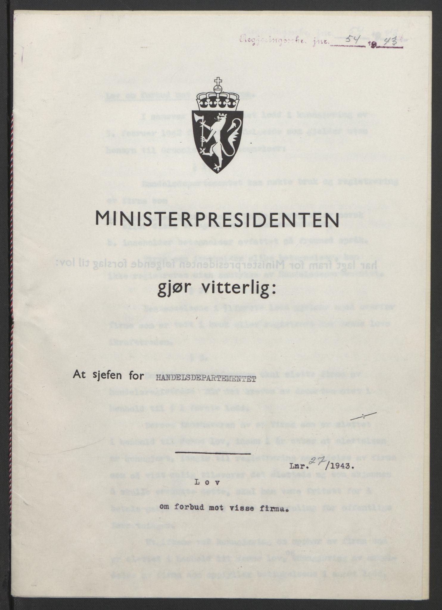 RA, NS-administrasjonen 1940-1945 (Statsrådsekretariatet, de kommisariske statsråder mm), D/Db/L0099: Lover, 1943, s. 109