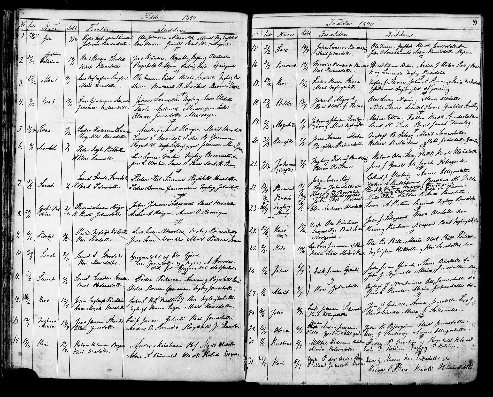 SAT, Ministerialprotokoller, klokkerbøker og fødselsregistre - Sør-Trøndelag, 686/L0985: Klokkerbok nr. 686C01, 1871-1933, s. 41