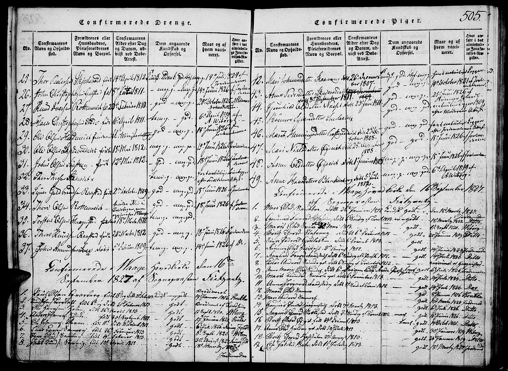SAH, Vågå prestekontor, Klokkerbok nr. 1, 1815-1827, s. 504-505