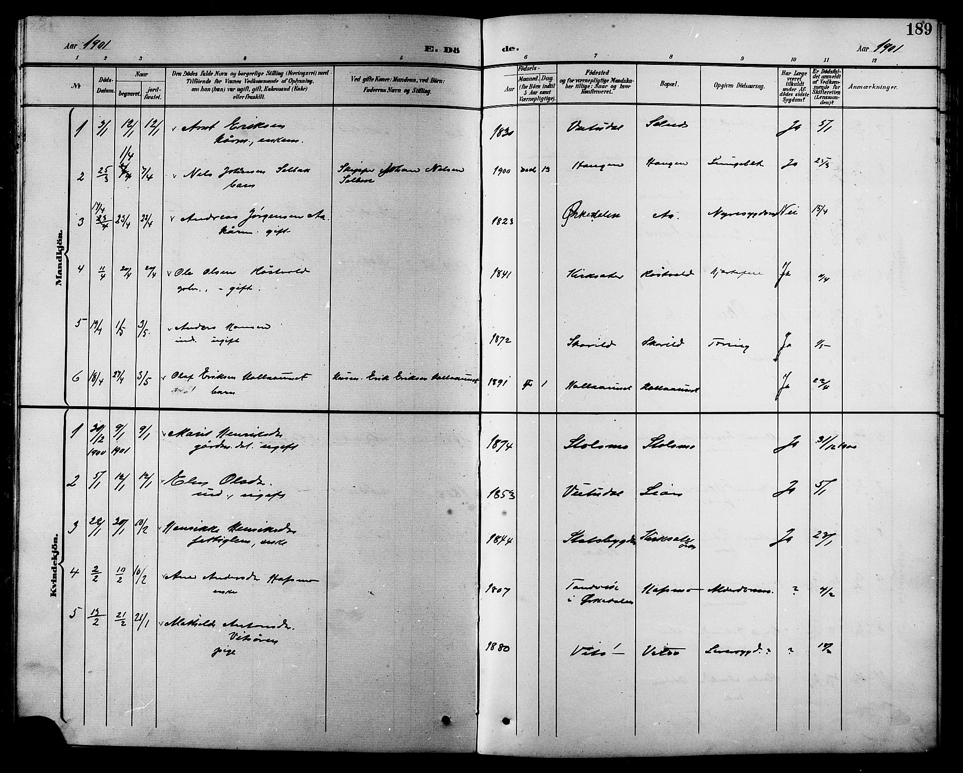 SAT, Ministerialprotokoller, klokkerbøker og fødselsregistre - Sør-Trøndelag, 630/L0505: Klokkerbok nr. 630C03, 1899-1914, s. 189