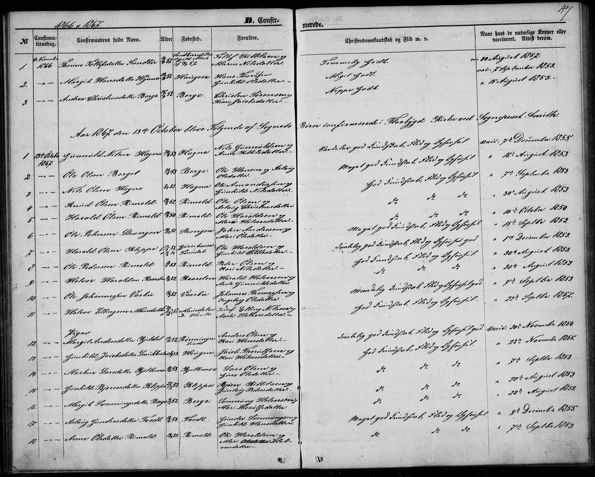 SAKO, Lunde kirkebøker, F/Fb/L0002: Ministerialbok nr. II 2, 1861-1881, s. 47