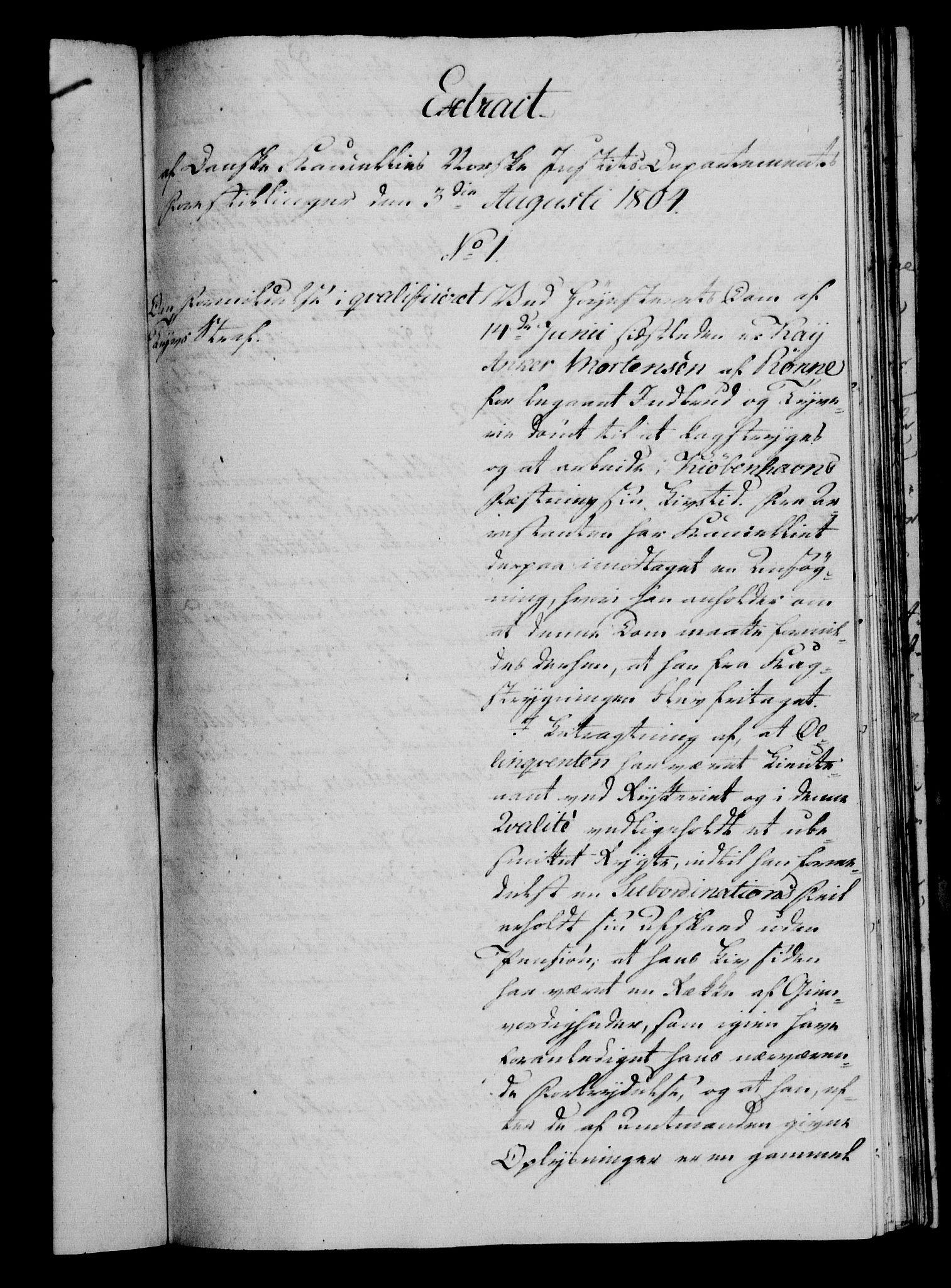 RA, Danske Kanselli 1800-1814, H/Hf/Hfa/Hfaa/L0005: Ekstrakt av forestillinger, 1804