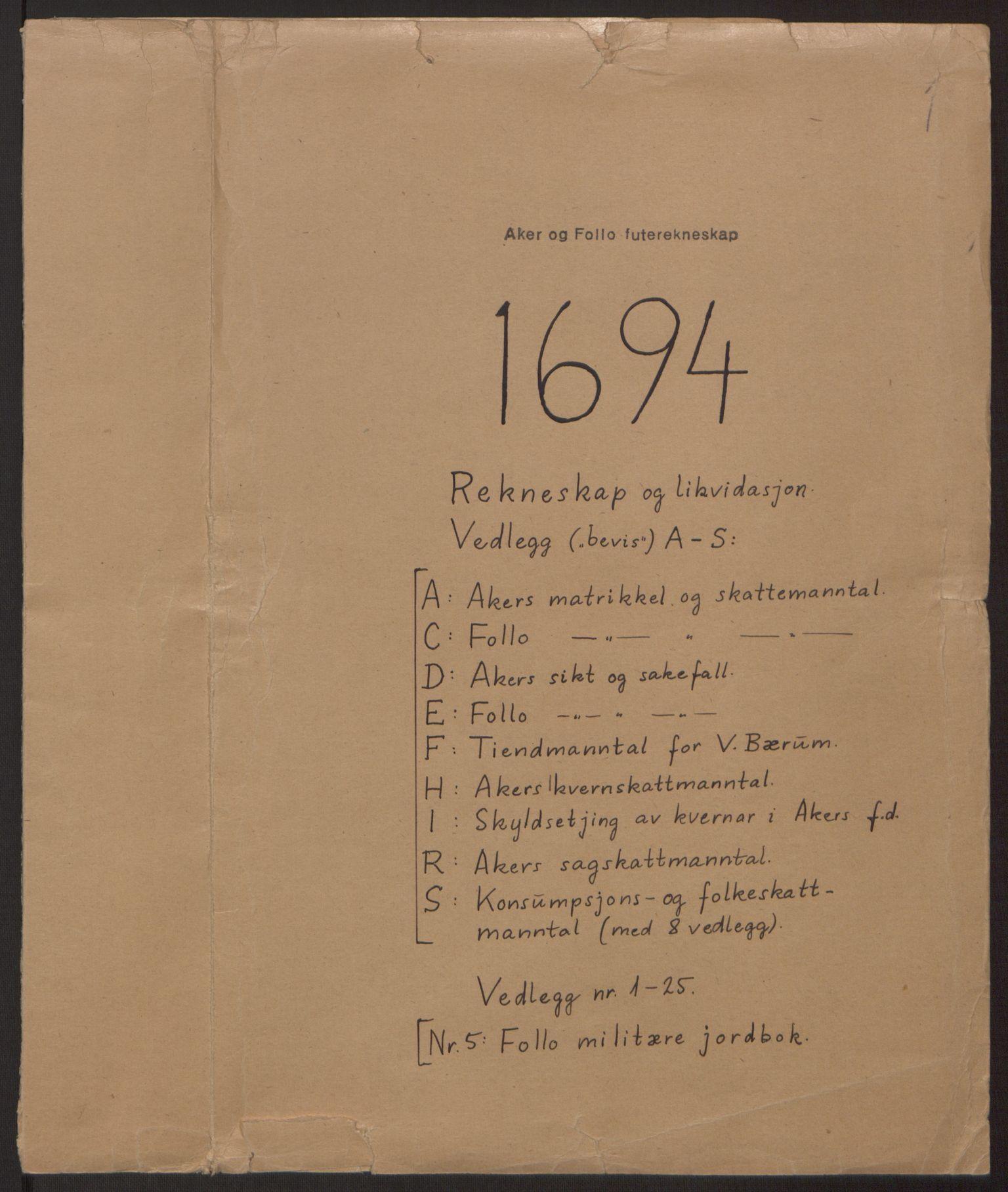 RA, Rentekammeret inntil 1814, Reviderte regnskaper, Fogderegnskap, R10/L0438: Fogderegnskap Aker og Follo, 1694, s. 1