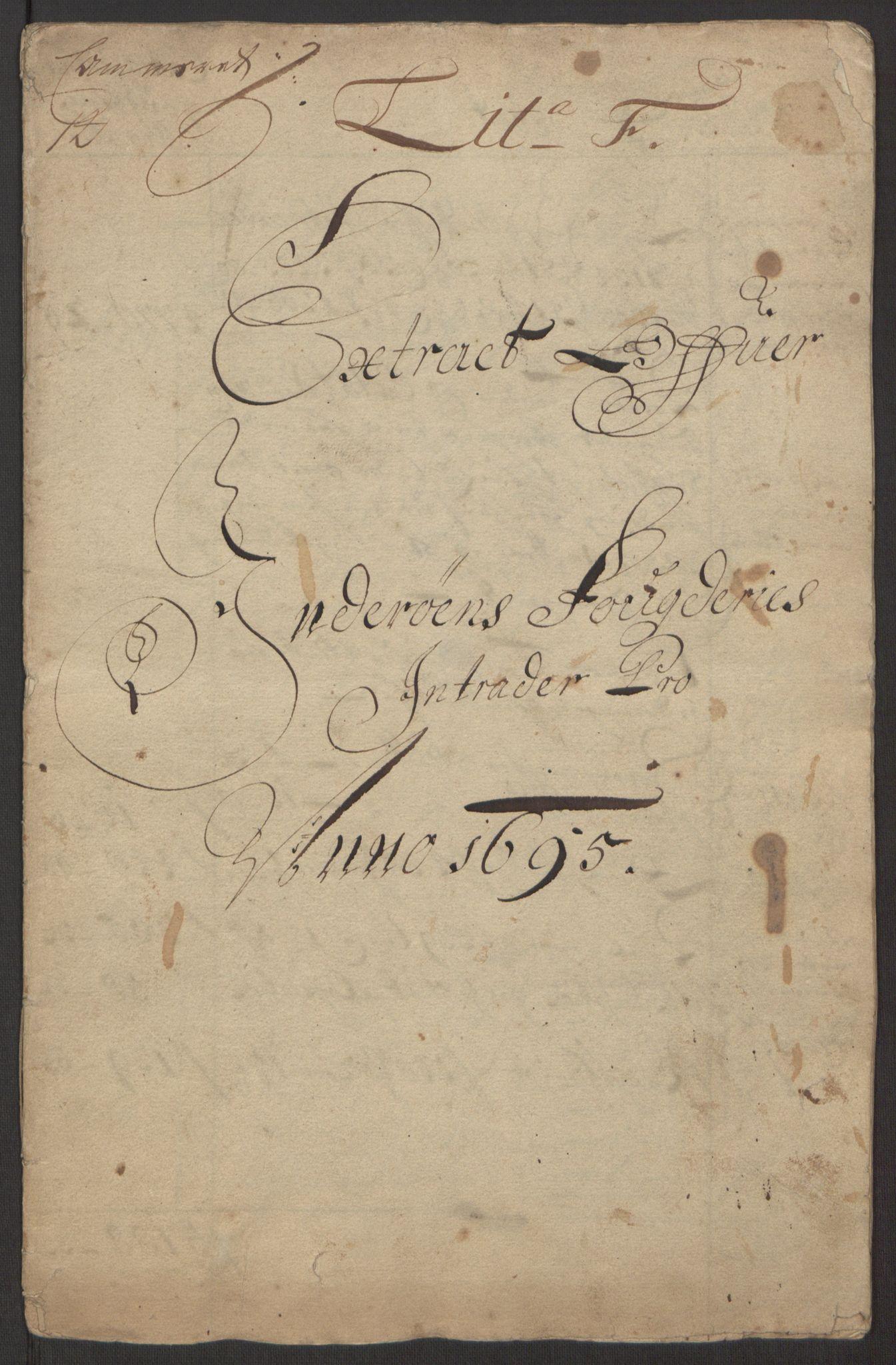 RA, Rentekammeret inntil 1814, Reviderte regnskaper, Fogderegnskap, R63/L4309: Fogderegnskap Inderøy, 1695-1697, s. 4