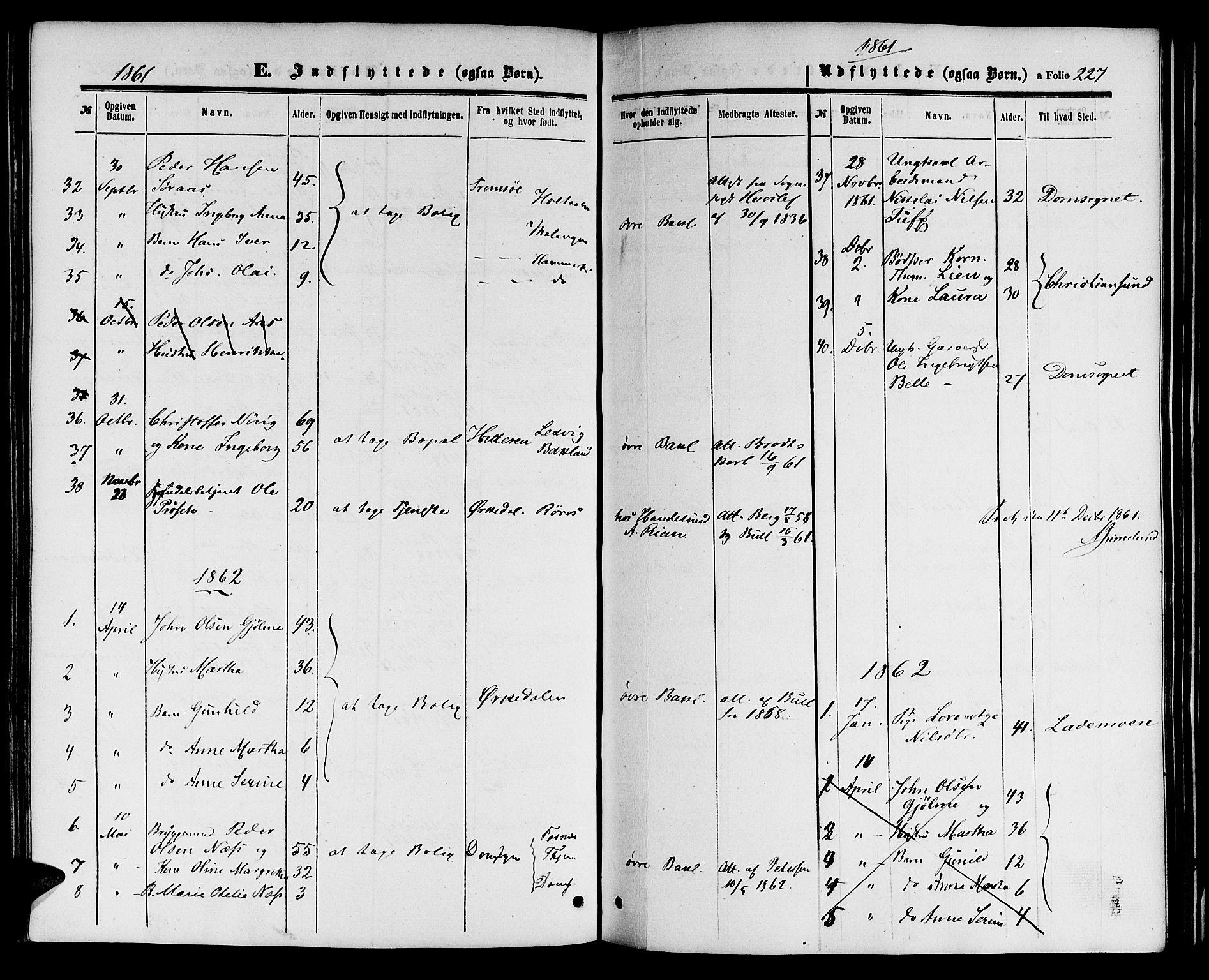 SAT, Ministerialprotokoller, klokkerbøker og fødselsregistre - Sør-Trøndelag, 604/L0185: Ministerialbok nr. 604A06, 1861-1865, s. 227