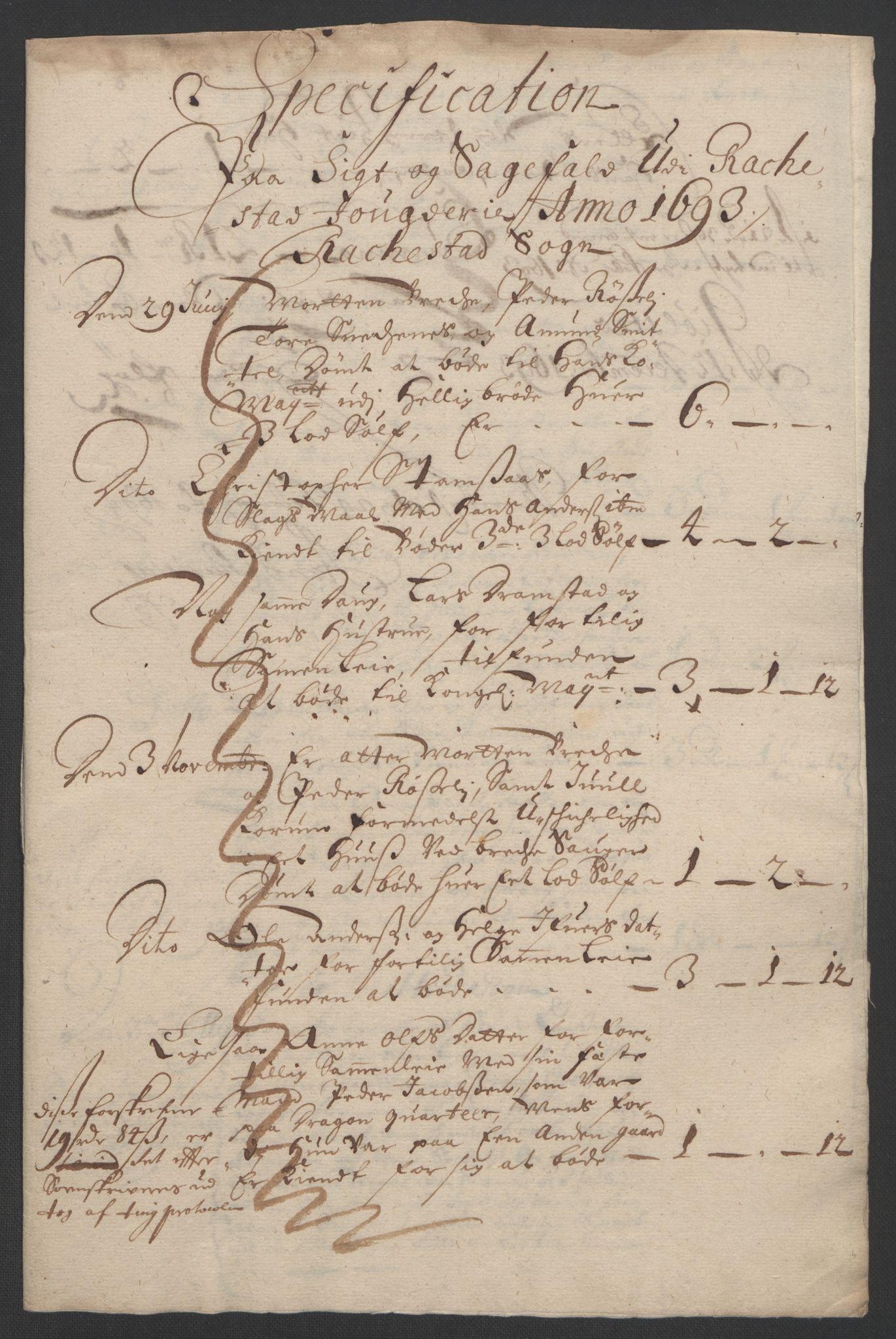 RA, Rentekammeret inntil 1814, Reviderte regnskaper, Fogderegnskap, R05/L0278: Fogderegnskap Rakkestad, 1691-1693, s. 361