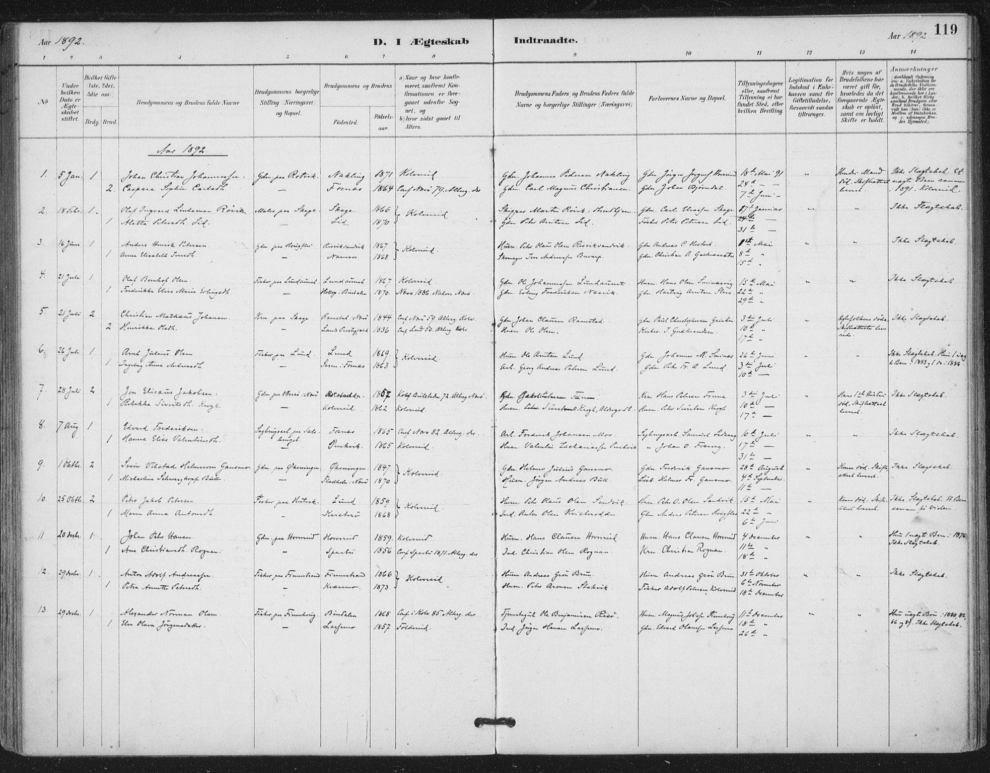 SAT, Ministerialprotokoller, klokkerbøker og fødselsregistre - Nord-Trøndelag, 780/L0644: Ministerialbok nr. 780A08, 1886-1903, s. 119