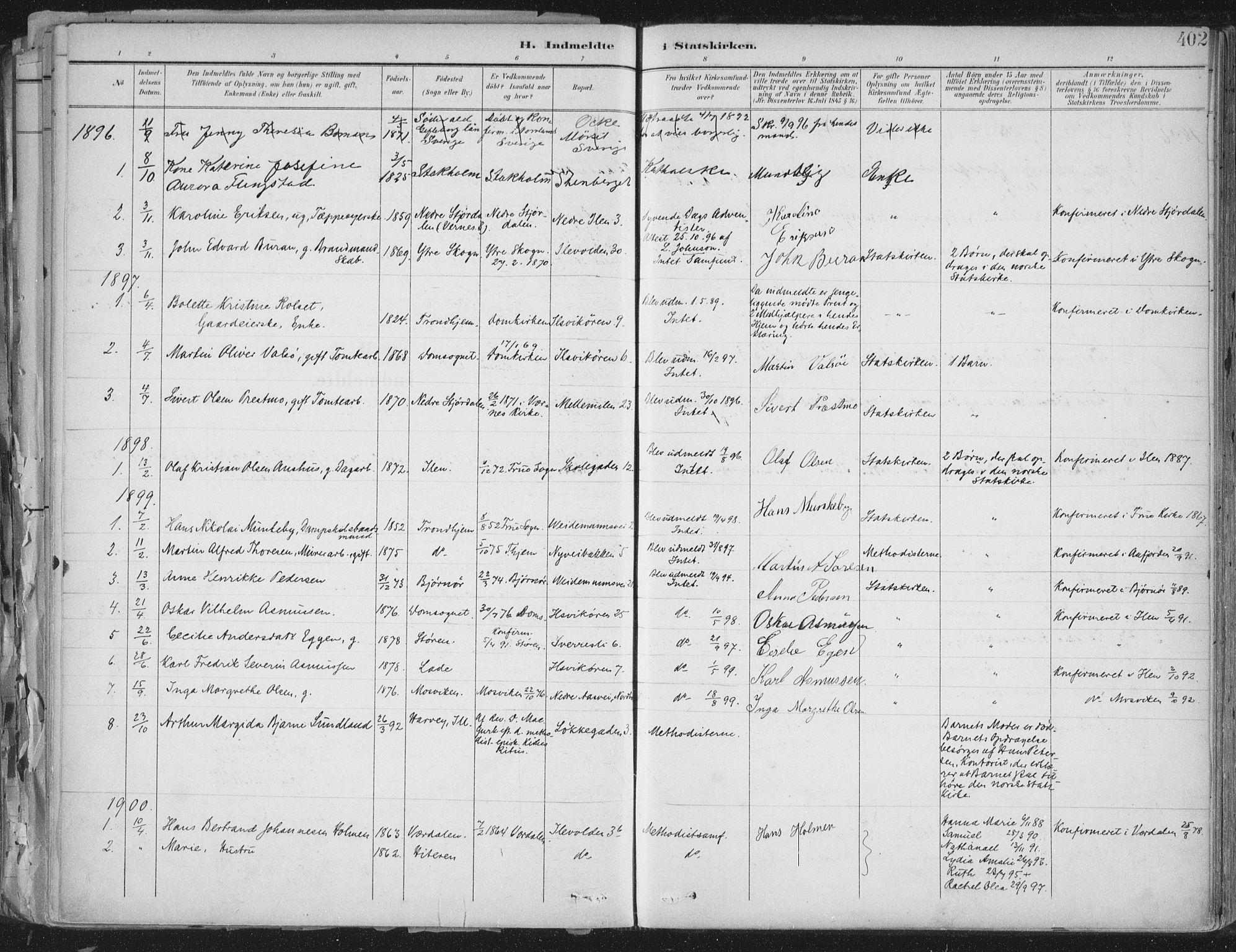 SAT, Ministerialprotokoller, klokkerbøker og fødselsregistre - Sør-Trøndelag, 603/L0167: Ministerialbok nr. 603A06, 1896-1932, s. 402