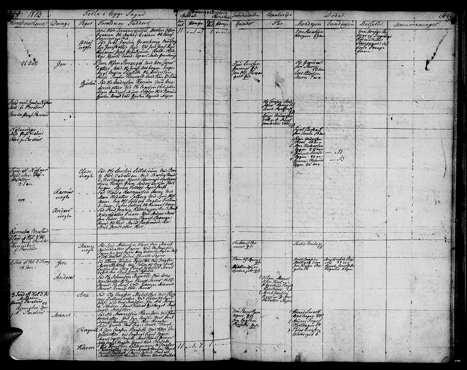 SAT, Ministerialprotokoller, klokkerbøker og fødselsregistre - Sør-Trøndelag, 672/L0852: Ministerialbok nr. 672A05, 1776-1815, s. 444-445
