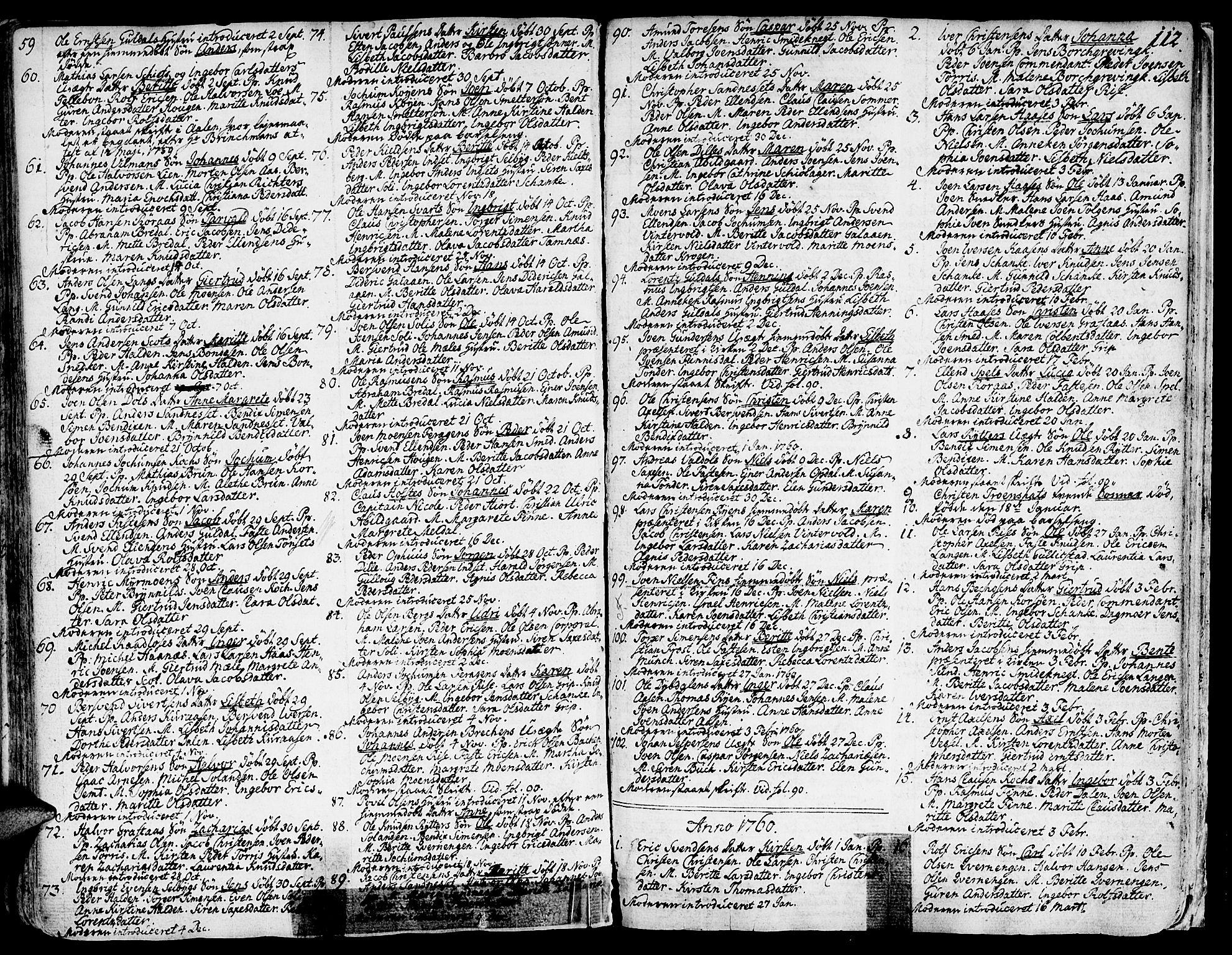 SAT, Ministerialprotokoller, klokkerbøker og fødselsregistre - Sør-Trøndelag, 681/L0925: Ministerialbok nr. 681A03, 1727-1766, s. 112