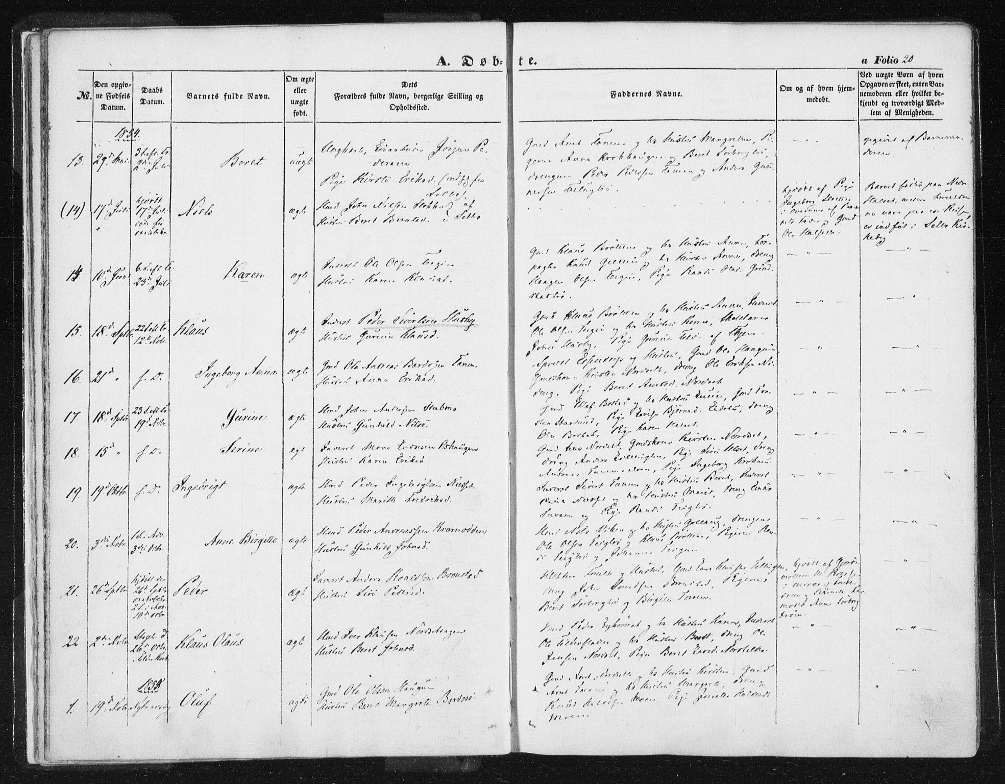 SAT, Ministerialprotokoller, klokkerbøker og fødselsregistre - Sør-Trøndelag, 618/L0441: Ministerialbok nr. 618A05, 1843-1862, s. 20