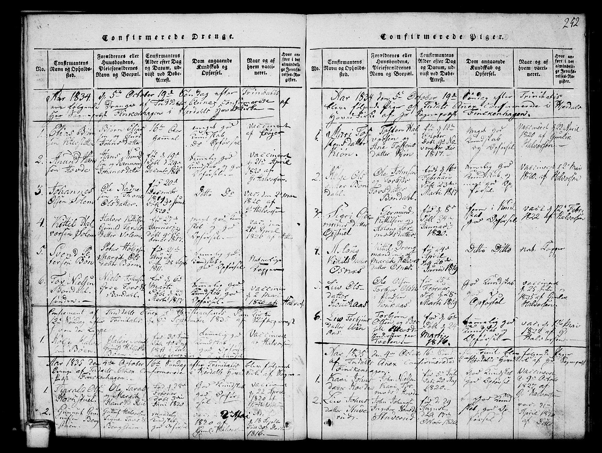 SAKO, Hjartdal kirkebøker, G/Gc/L0001: Klokkerbok nr. III 1, 1815-1842, s. 252