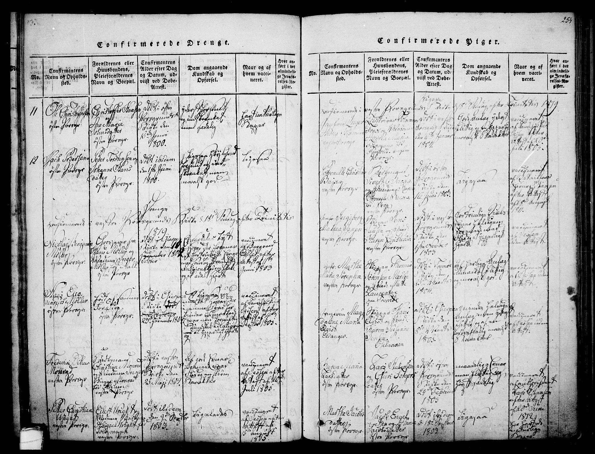 SAKO, Porsgrunn kirkebøker , F/Fa/L0004: Ministerialbok nr. 4, 1814-1828, s. 254