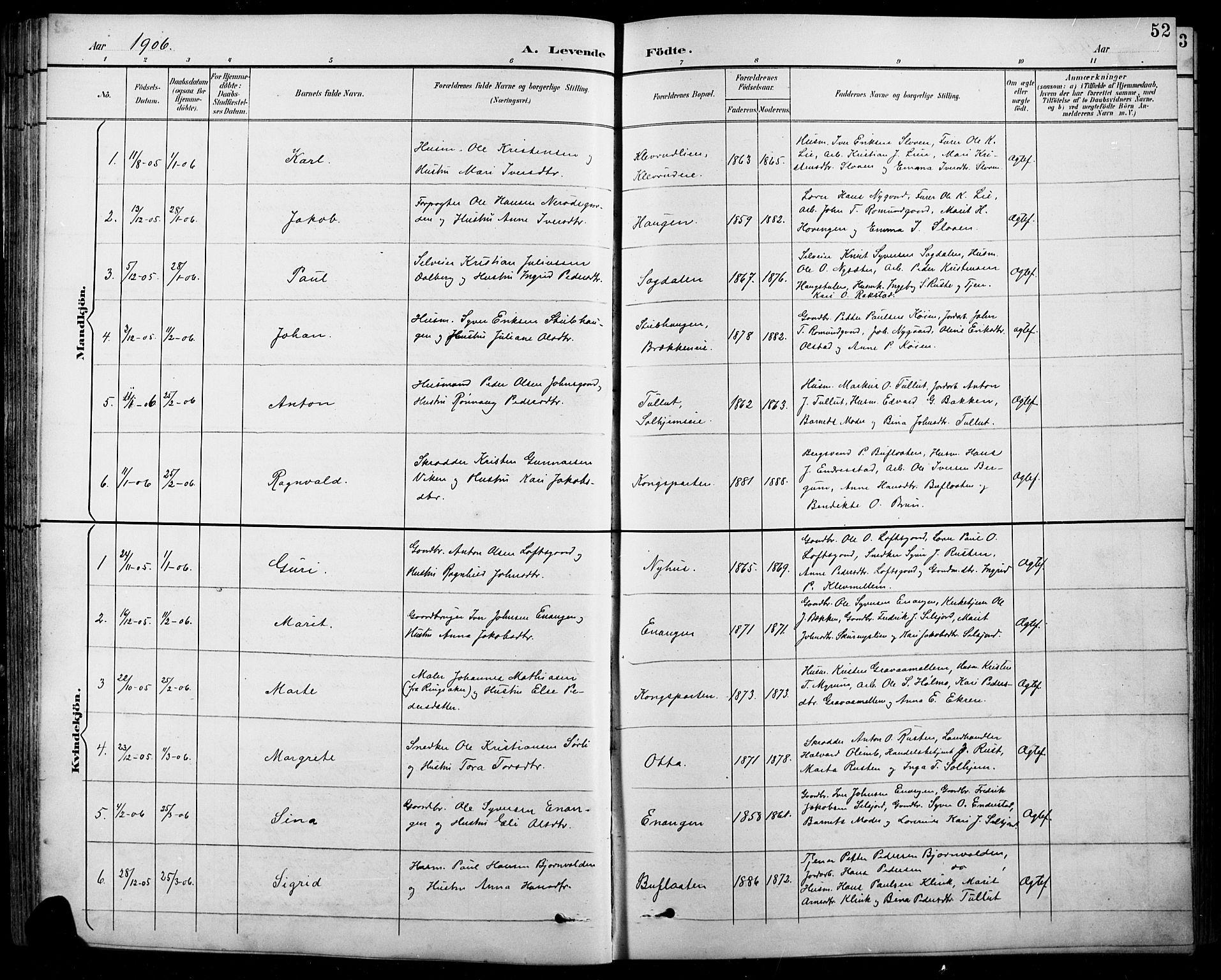 SAH, Sel prestekontor, Klokkerbok nr. 1, 1894-1923, s. 52